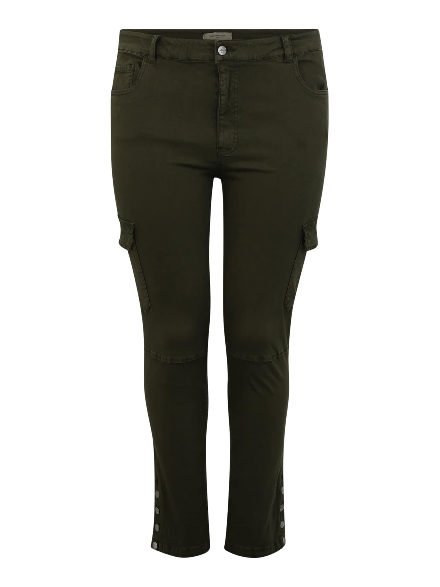 ONLY Carmakoma Laisvo stiliaus kelnės 'CARKALLA' rusvai žalia