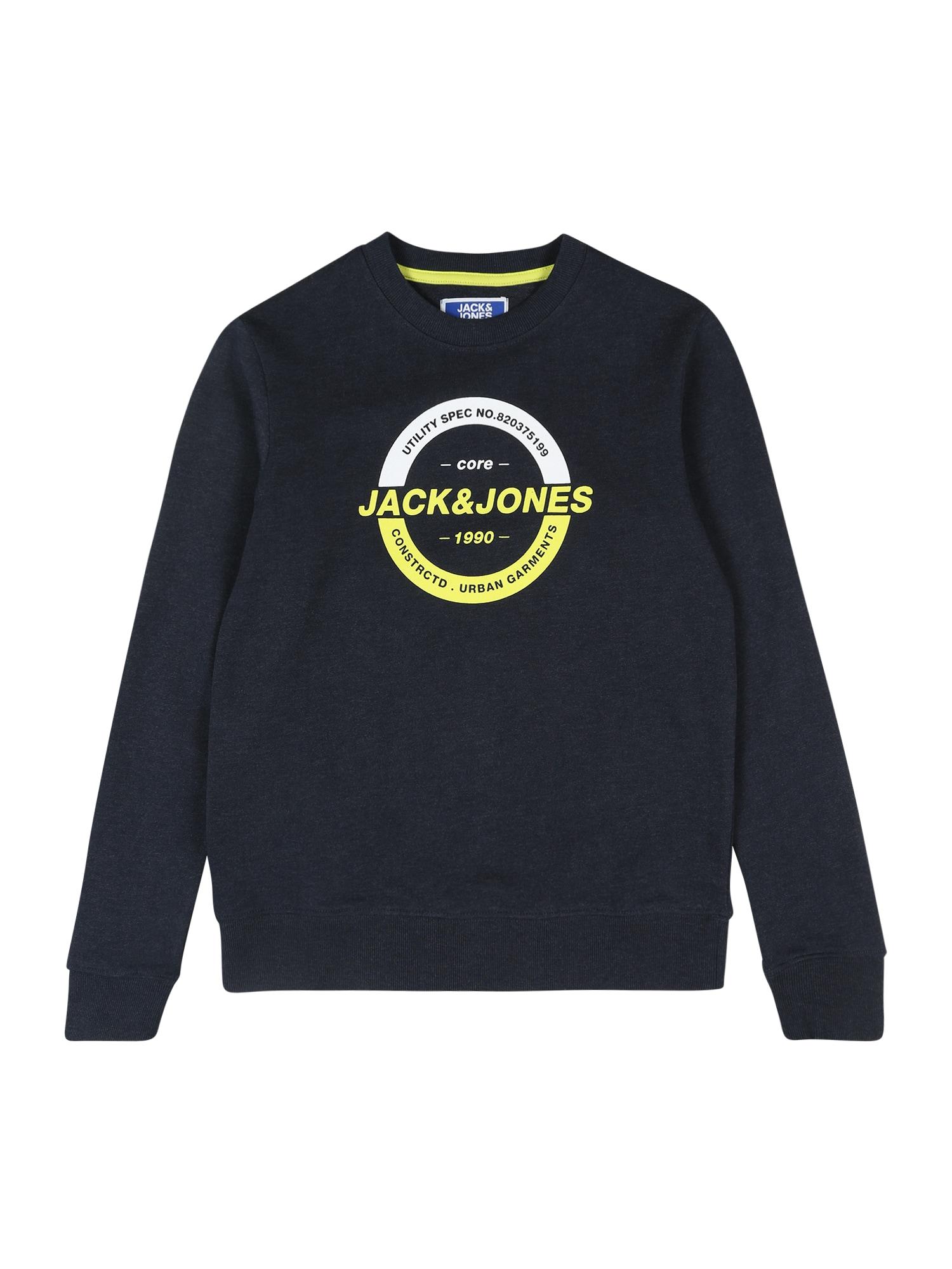 Jack & Jones Junior Megztinis be užsegimo geltona / nakties mėlyna / balta