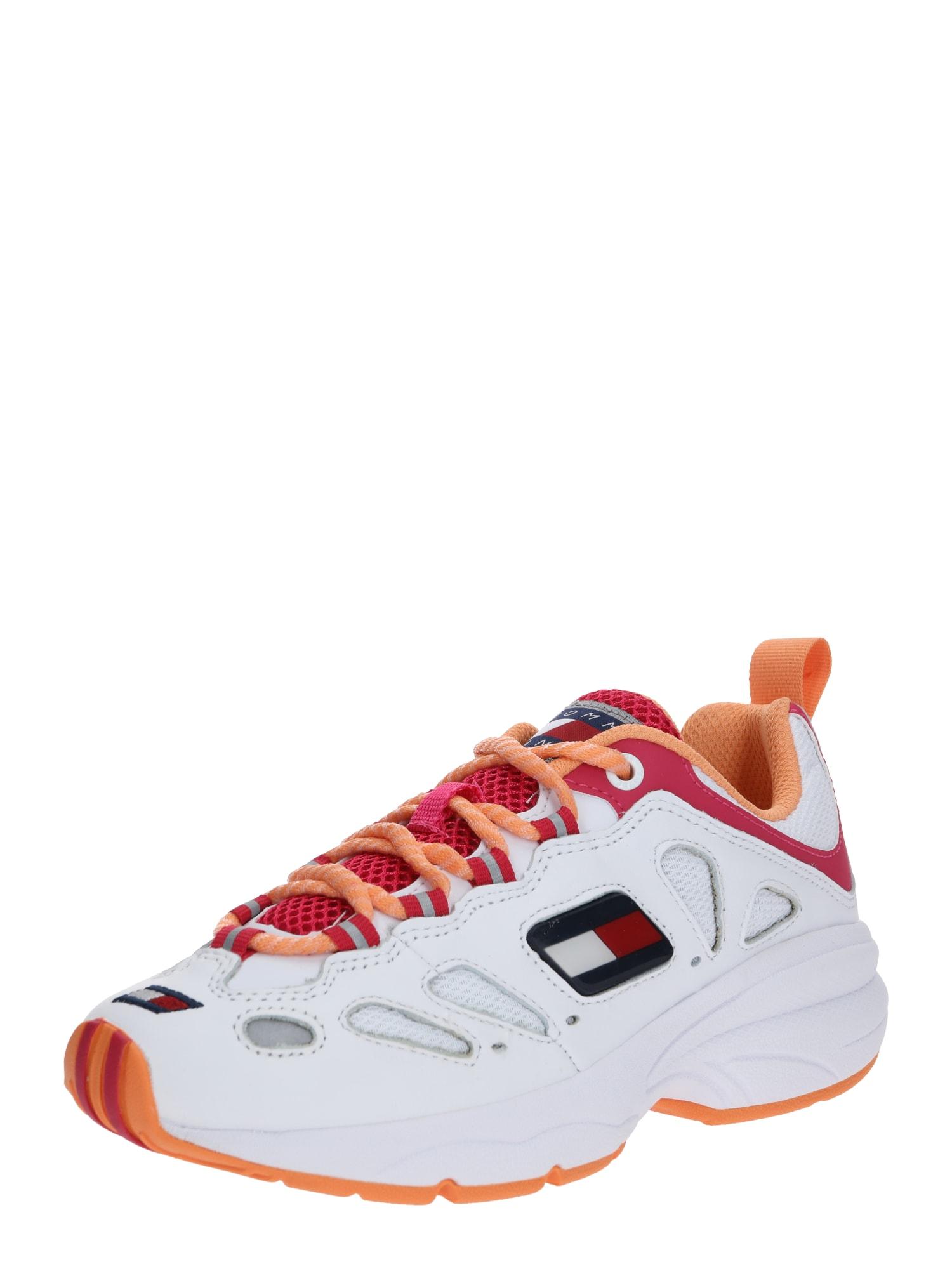 Tommy Jeans Nízke tenisky 'HERITAGE RETRO'  biela / oranžová / červené