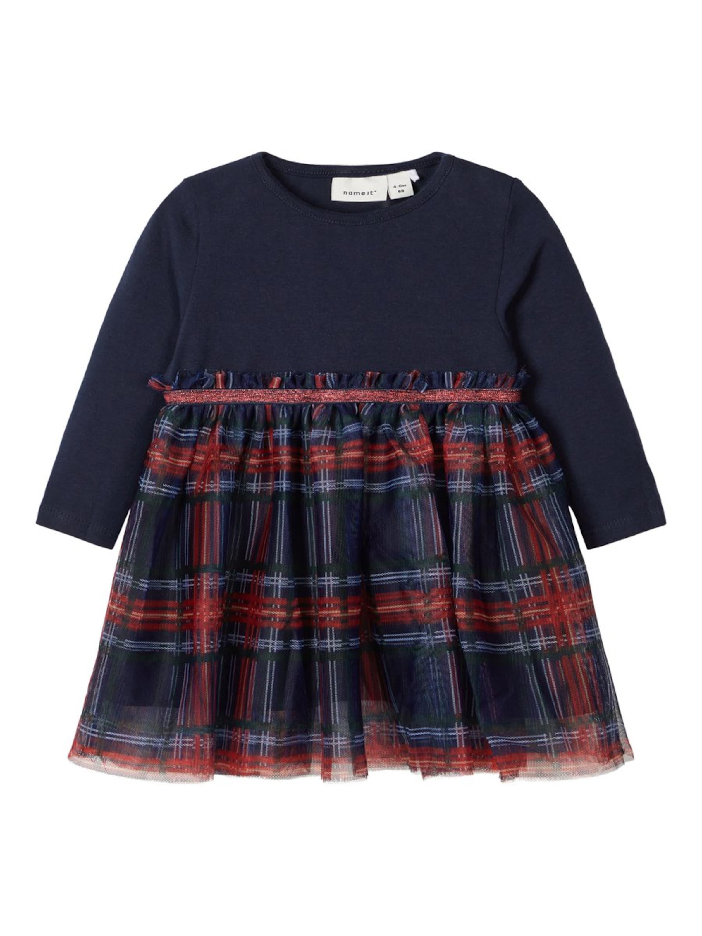 Kinder,  Mädchen,  Kinder NAME IT Kleid 'Frubia' blau,  rot | 05714489362195