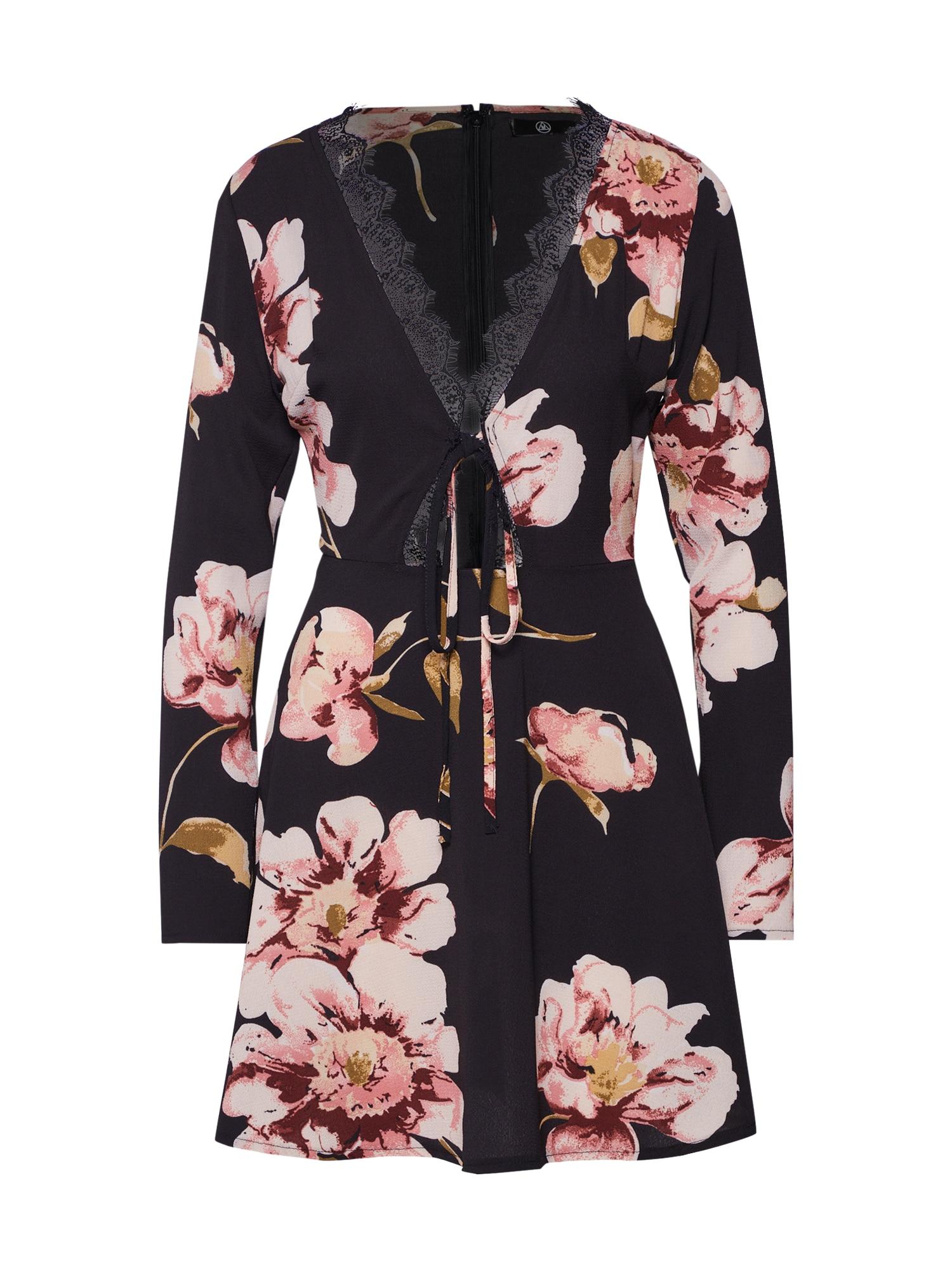 Missguided Nyári ruhák 'LONG SLEEVE LACE DETAIL SKATER DRESS'  rózsaszín / fekete