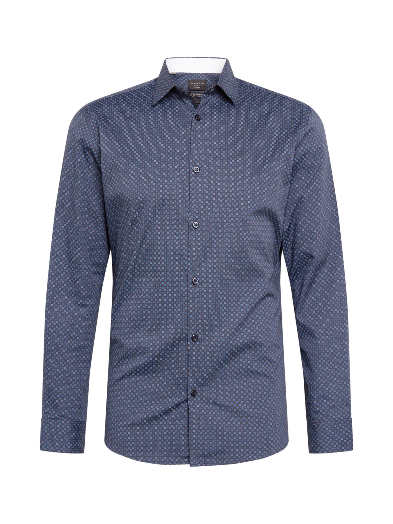 SELECTED HOMME Dalykinio stiliaus marškiniai šviesiai mėlyna / tamsiai mėlyna