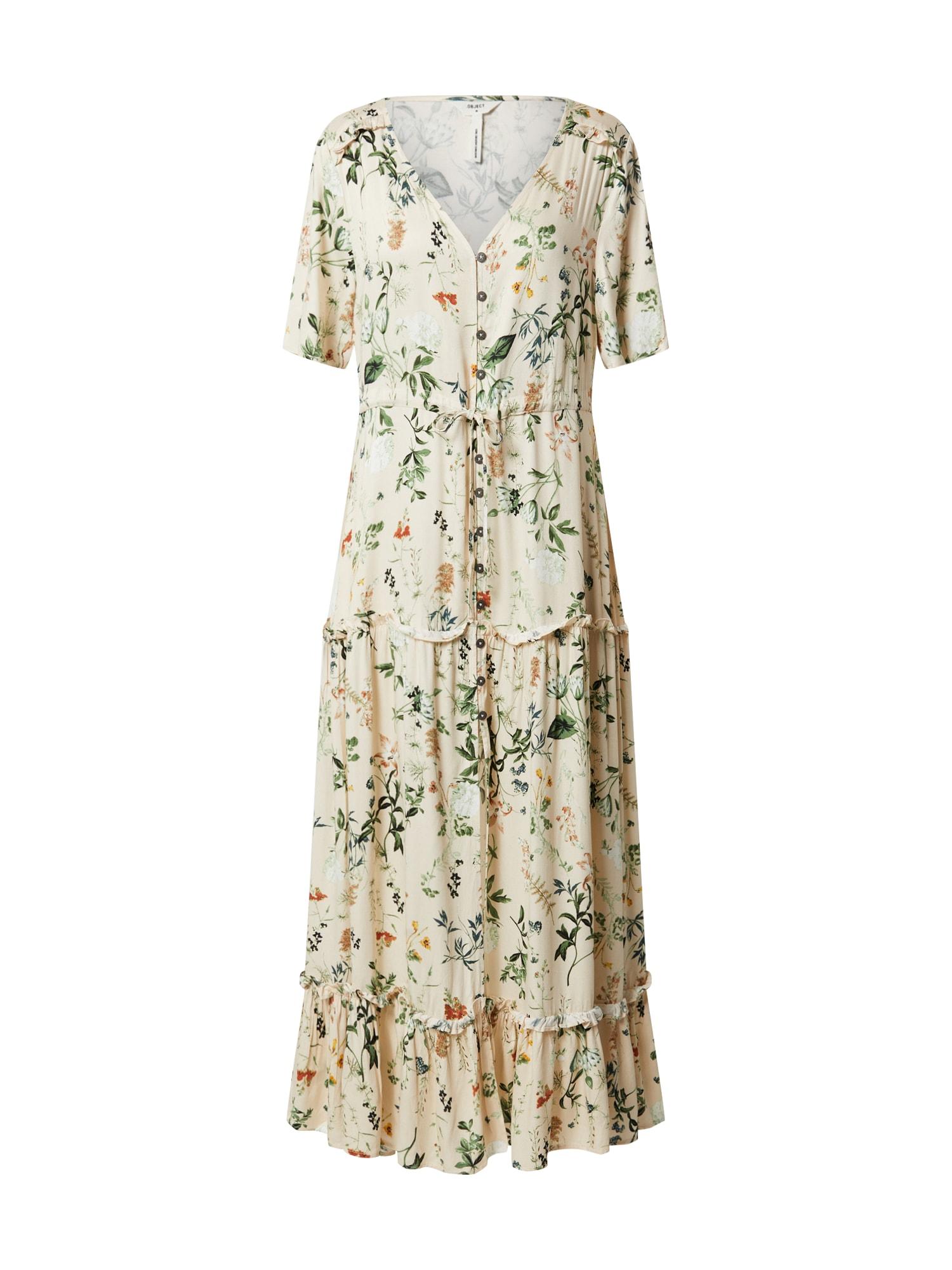 OBJECT Letné šaty  krémová / zmiešané farby