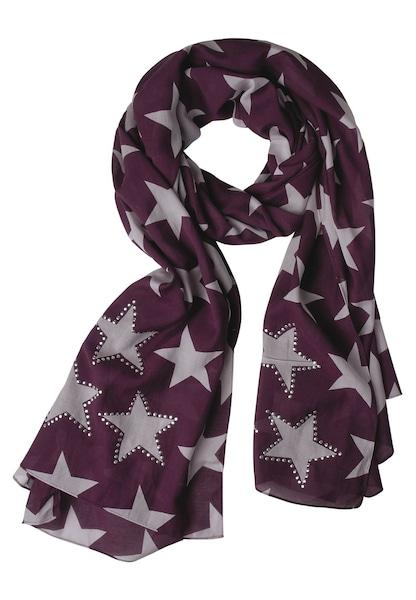 Schals für Frauen - STREET ONE Schal mit Sterne grau bordeaux  - Onlineshop ABOUT YOU