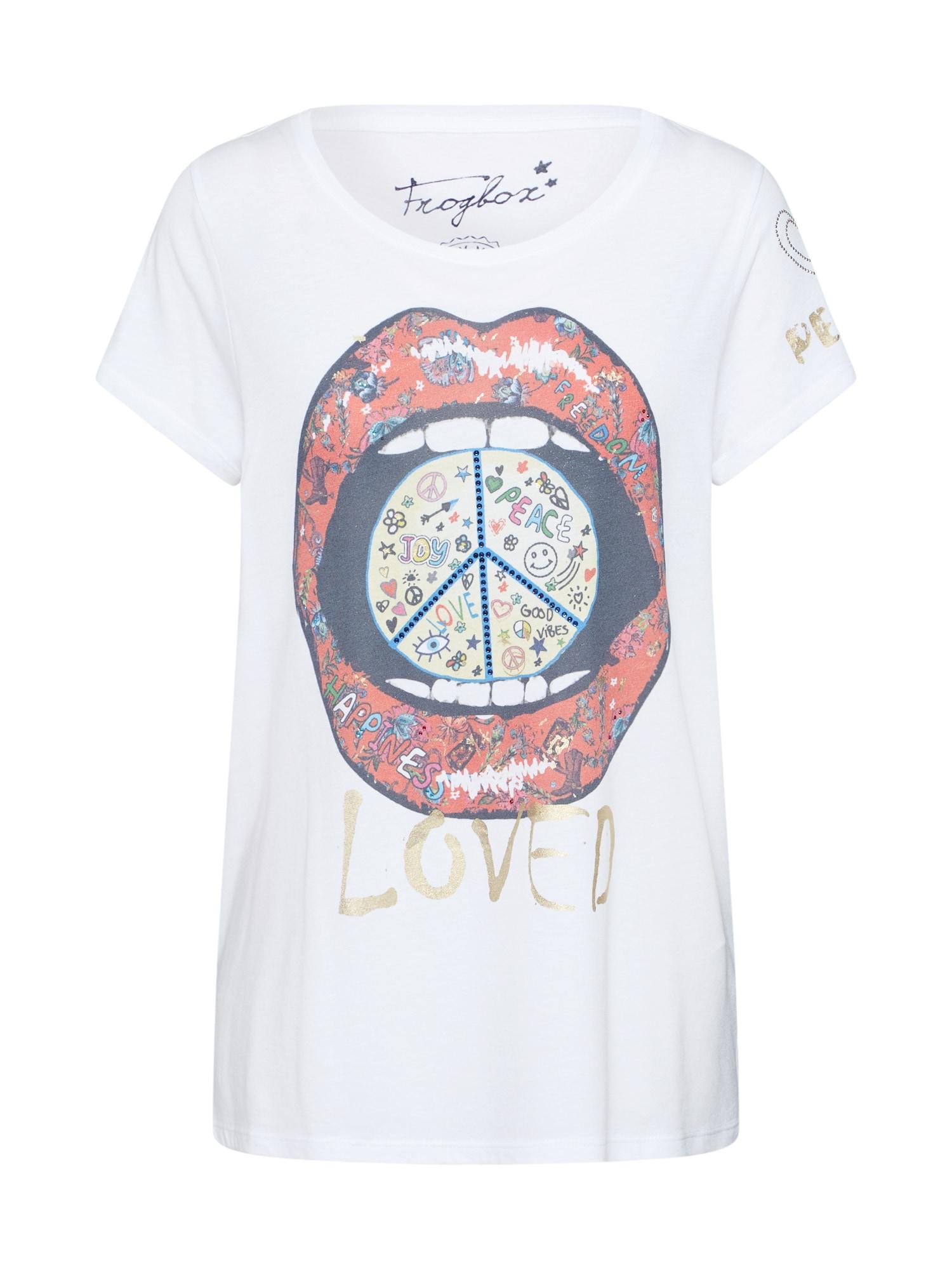 Frogbox Tričko 'Peace Glitzer'  biela / zmiešané farby