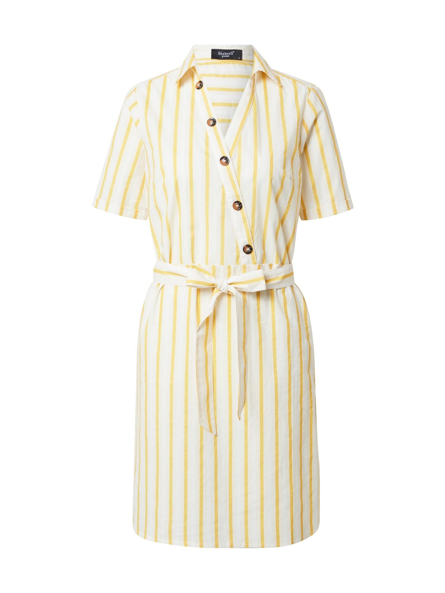 SISTERS POINT Letné šaty 'VARAS'  žlté / šedobiela