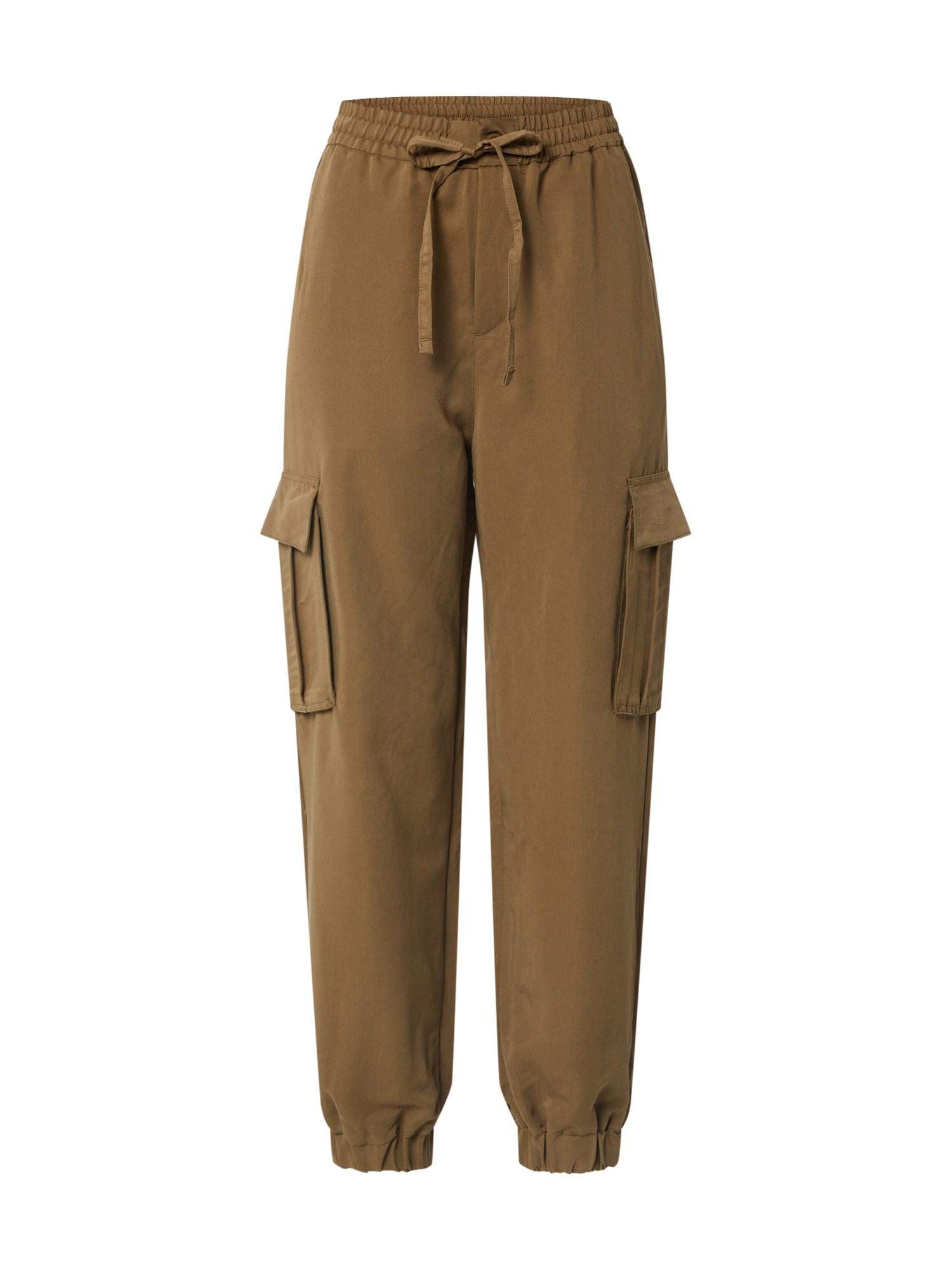 Urban Classics Laisvo stiliaus kelnės 'Ladies Viscose Twill Cargo Pants' ruda