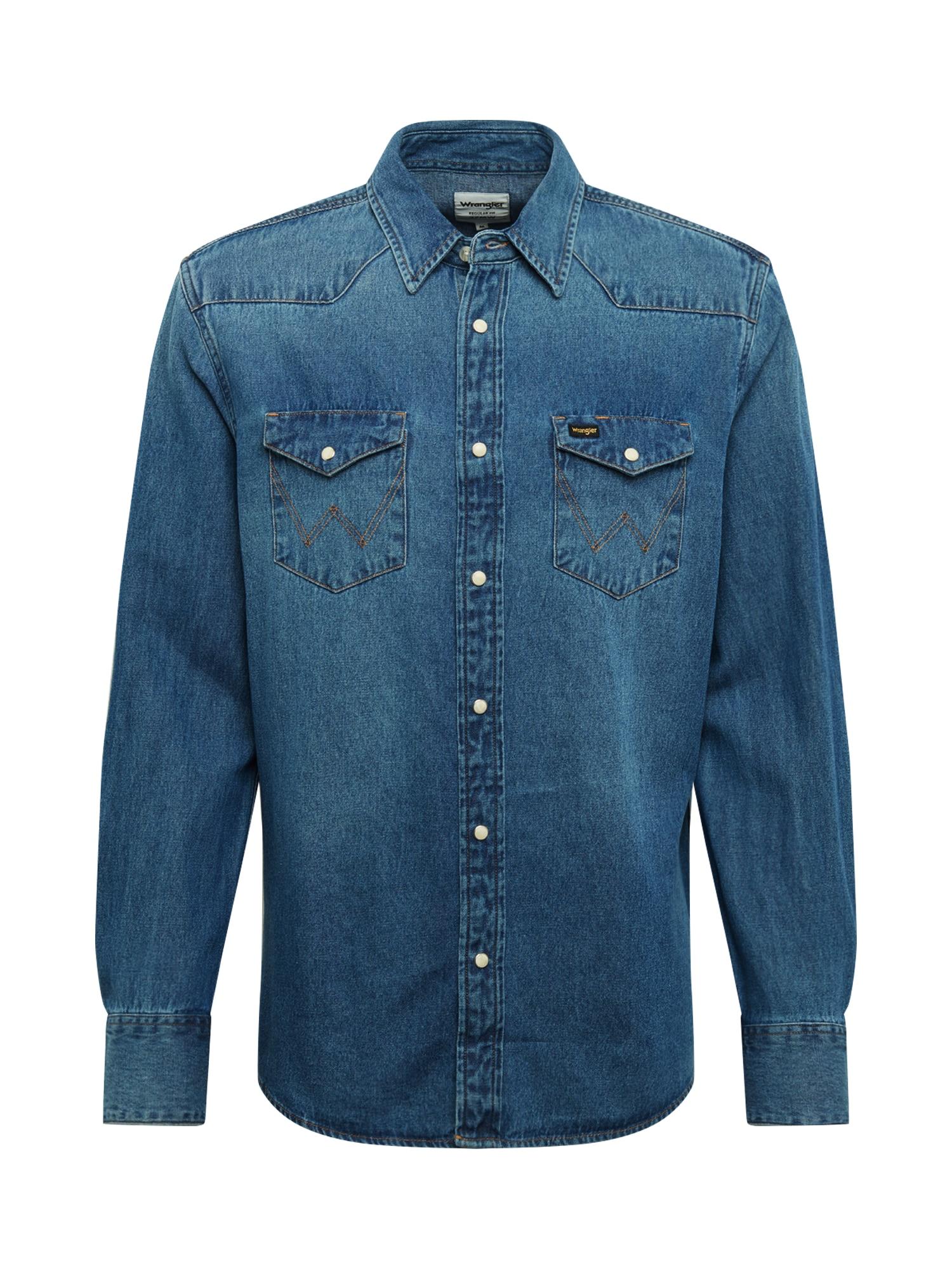 WRANGLER Marškiniai tamsiai (džinso) mėlyna