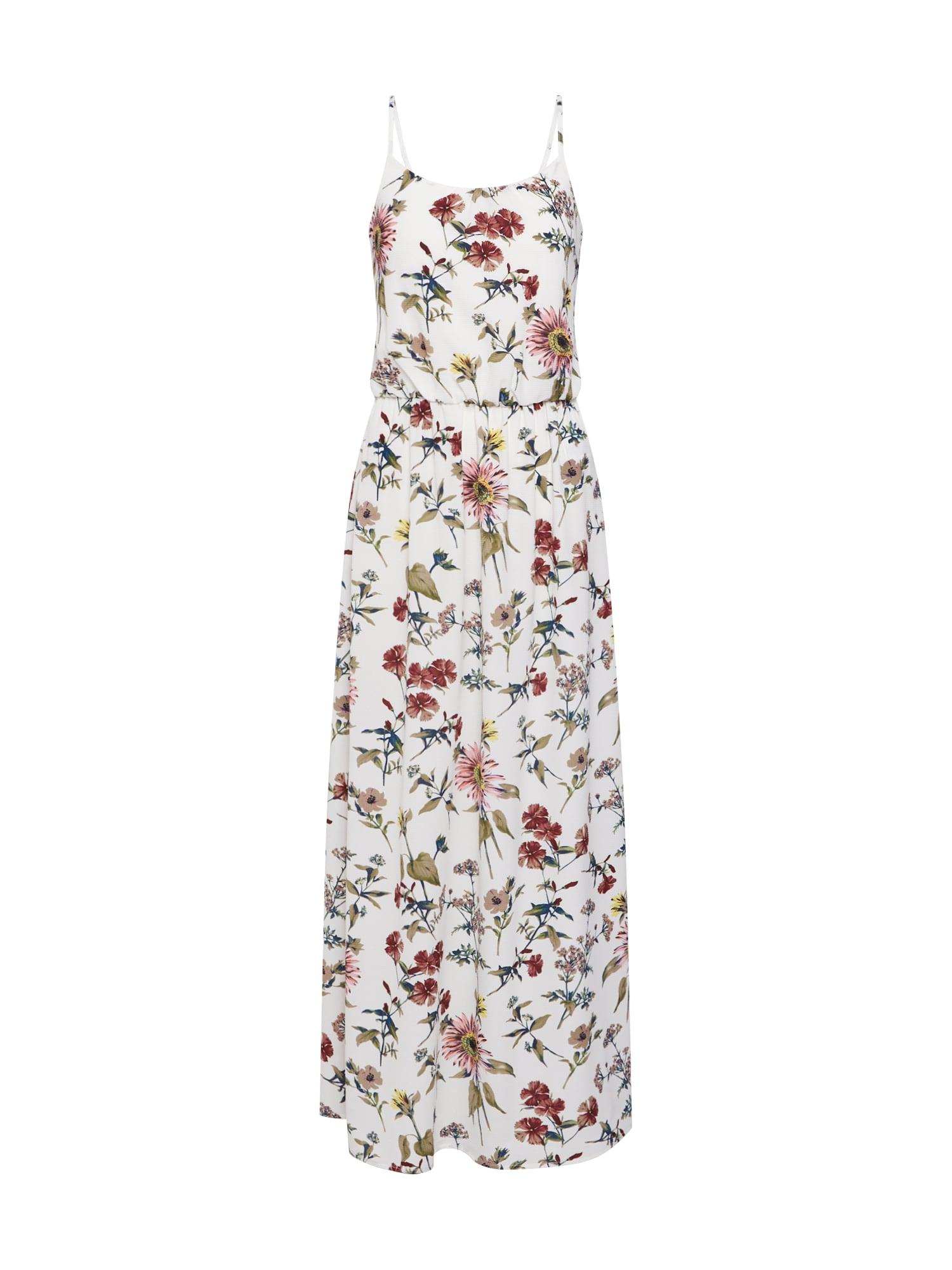 Letní šaty onlWINNER SL MAXIDRESS WVN trávově zelená starorůžová bílá ONLY