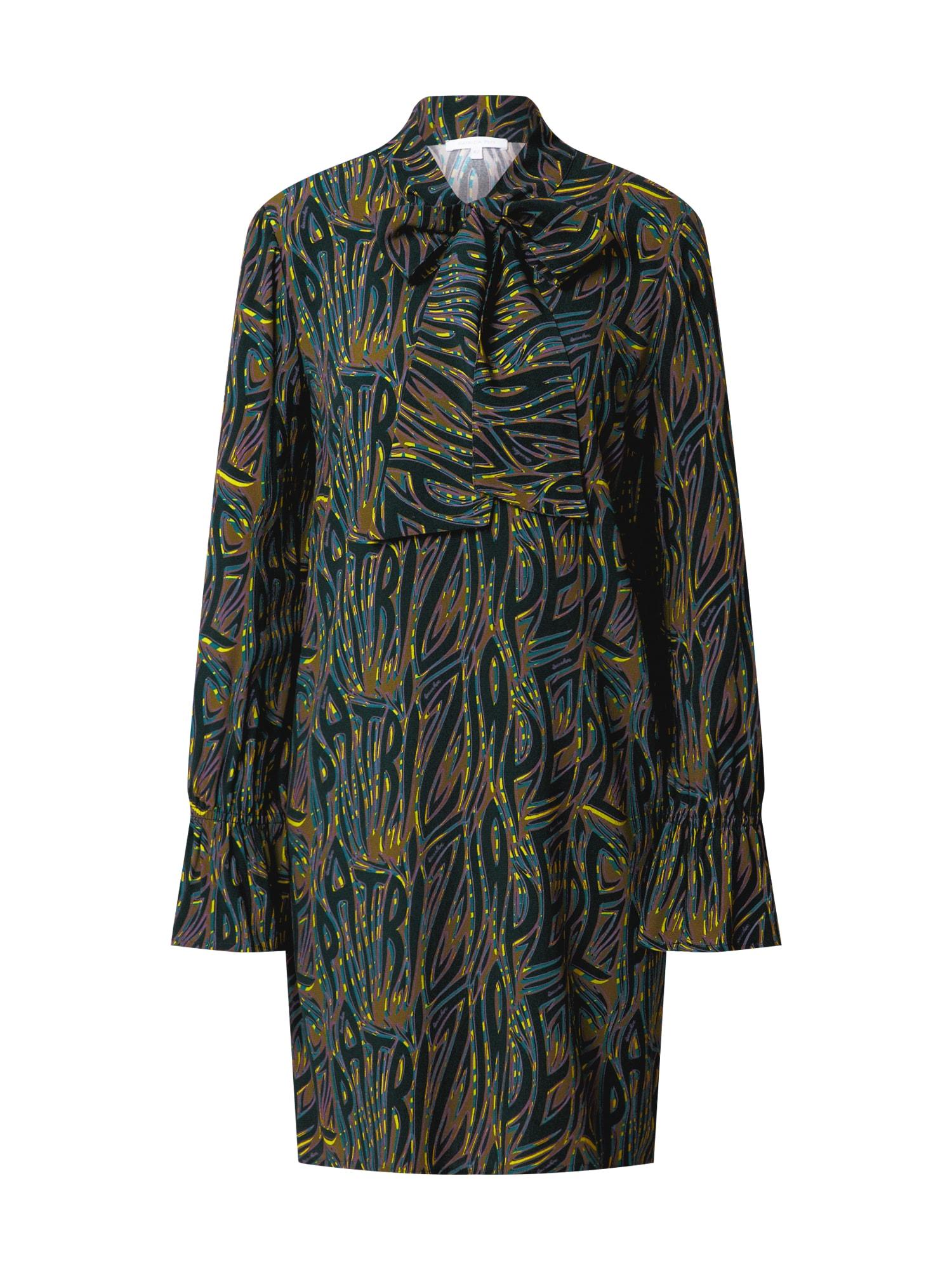 PATRIZIA PEPE Palaidinės tipo suknelė rusvai žalia / smaragdinė spalva / geltona / tamsiai violetinė / benzino spalva