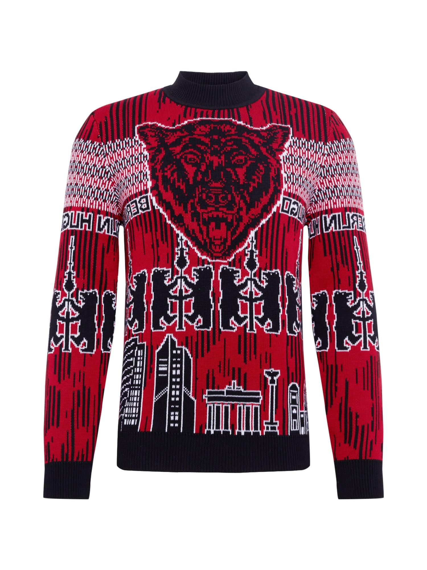 HUGO Megztinis 'Serlin' raudona / juoda