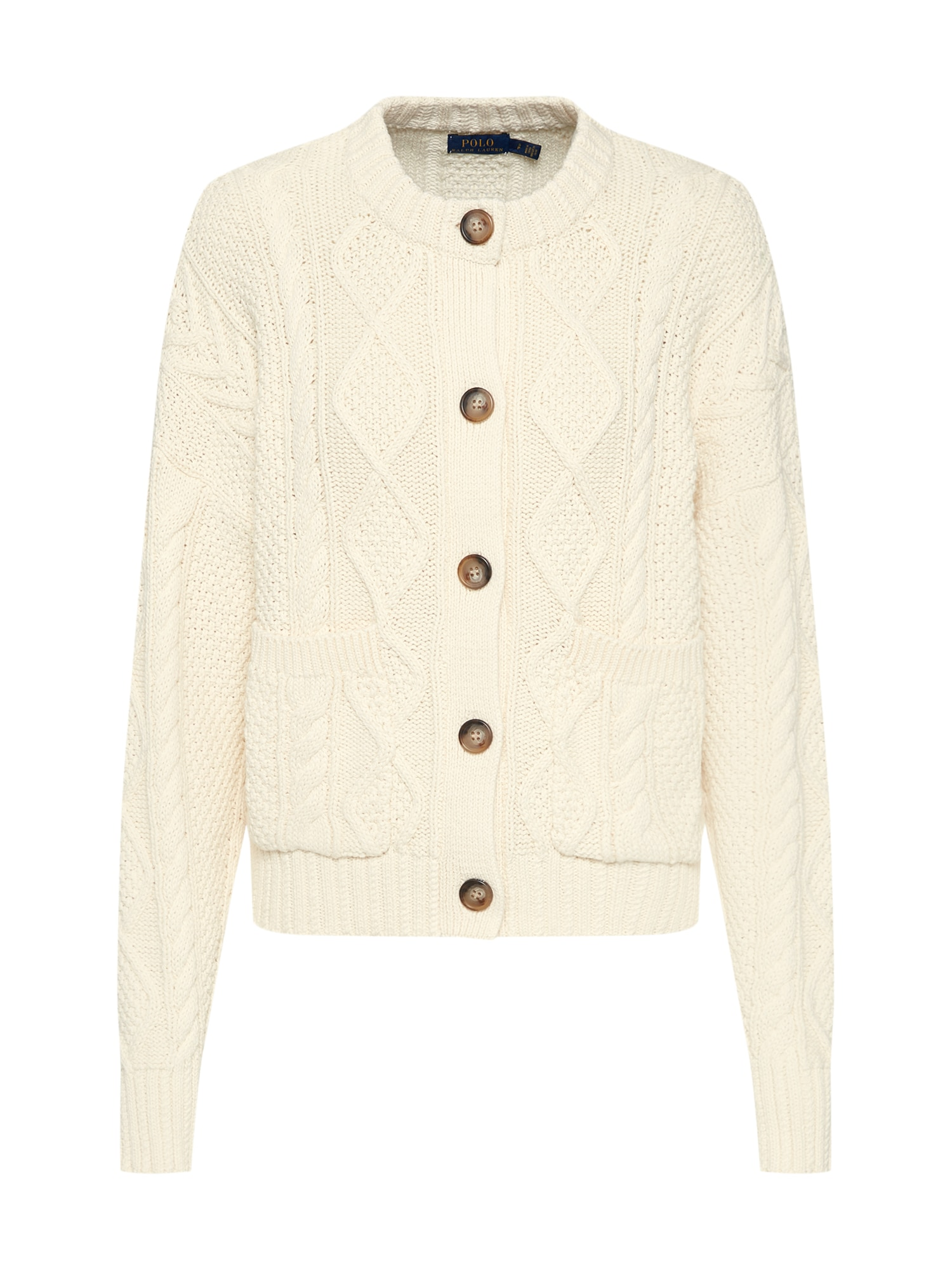 Kardigan BOXY CARDI-LONG SLEEVE-SWEATER béžová POLO RALPH LAUREN