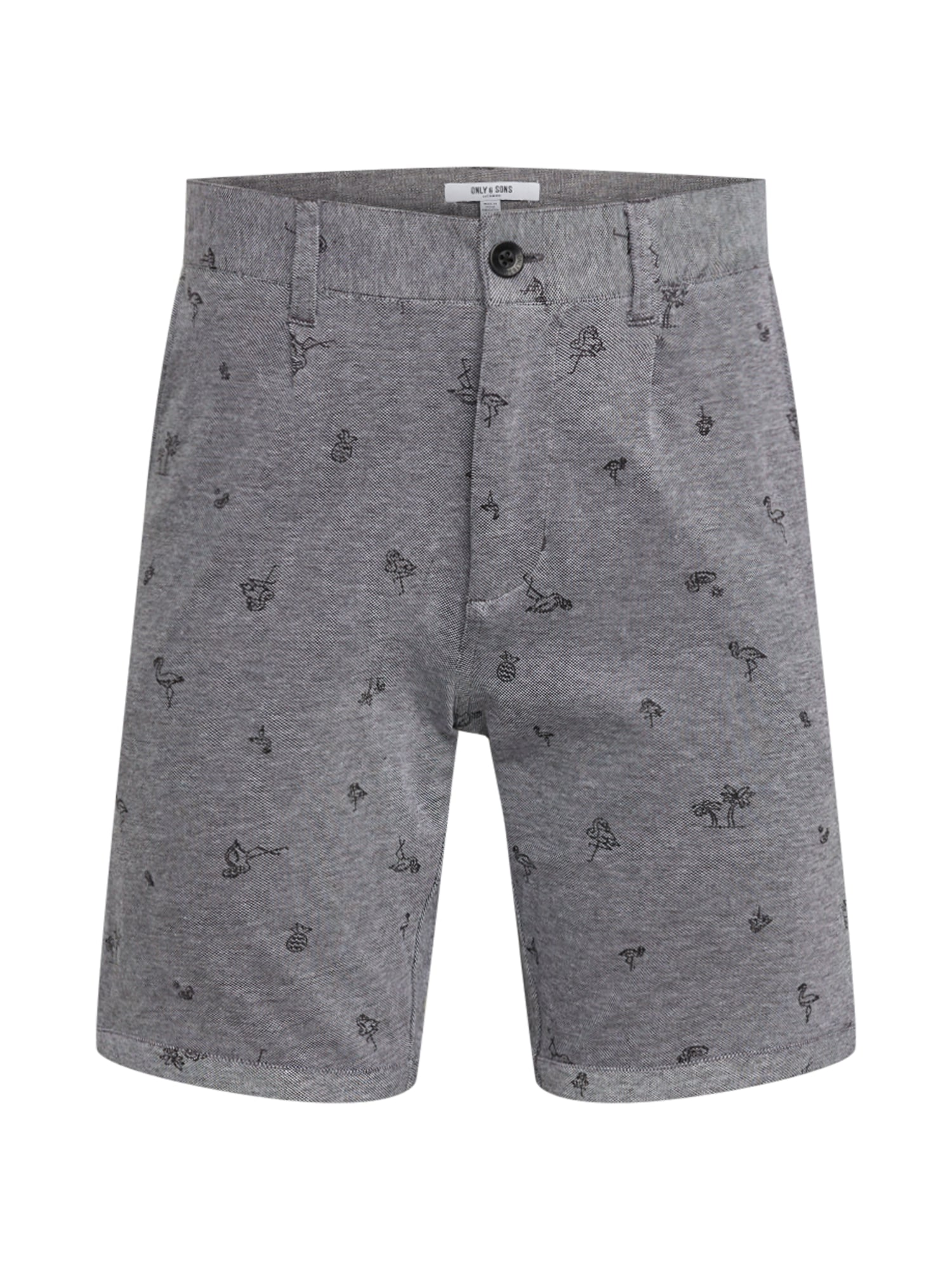 Only & Sons Chino stiliaus kelnės 'onsCUTON KNITTED PIQUE AOP SHORTS' pilka