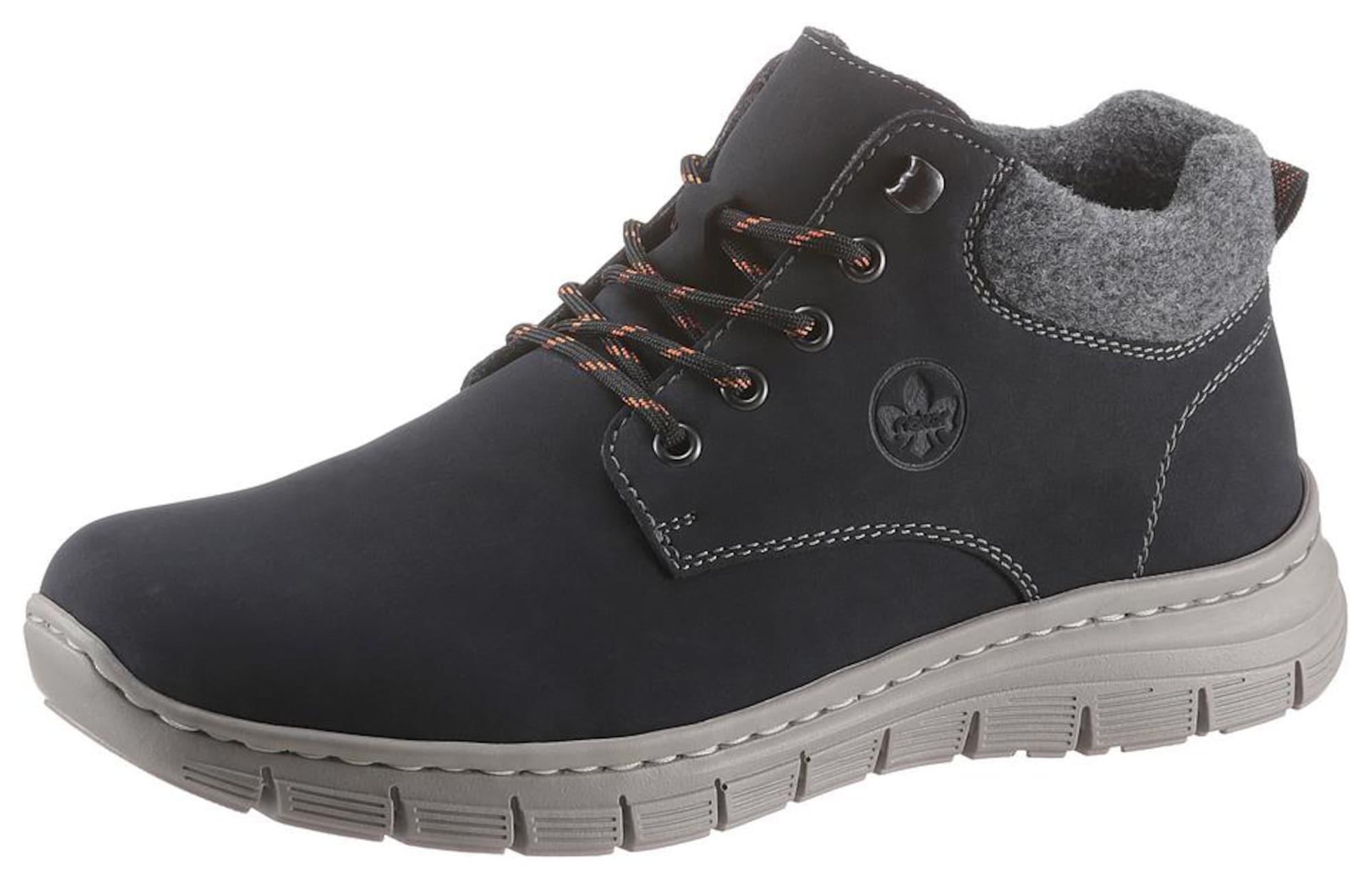 RIEKER Auliniai batai su raišteliais antracito spalva / dūmų pilka