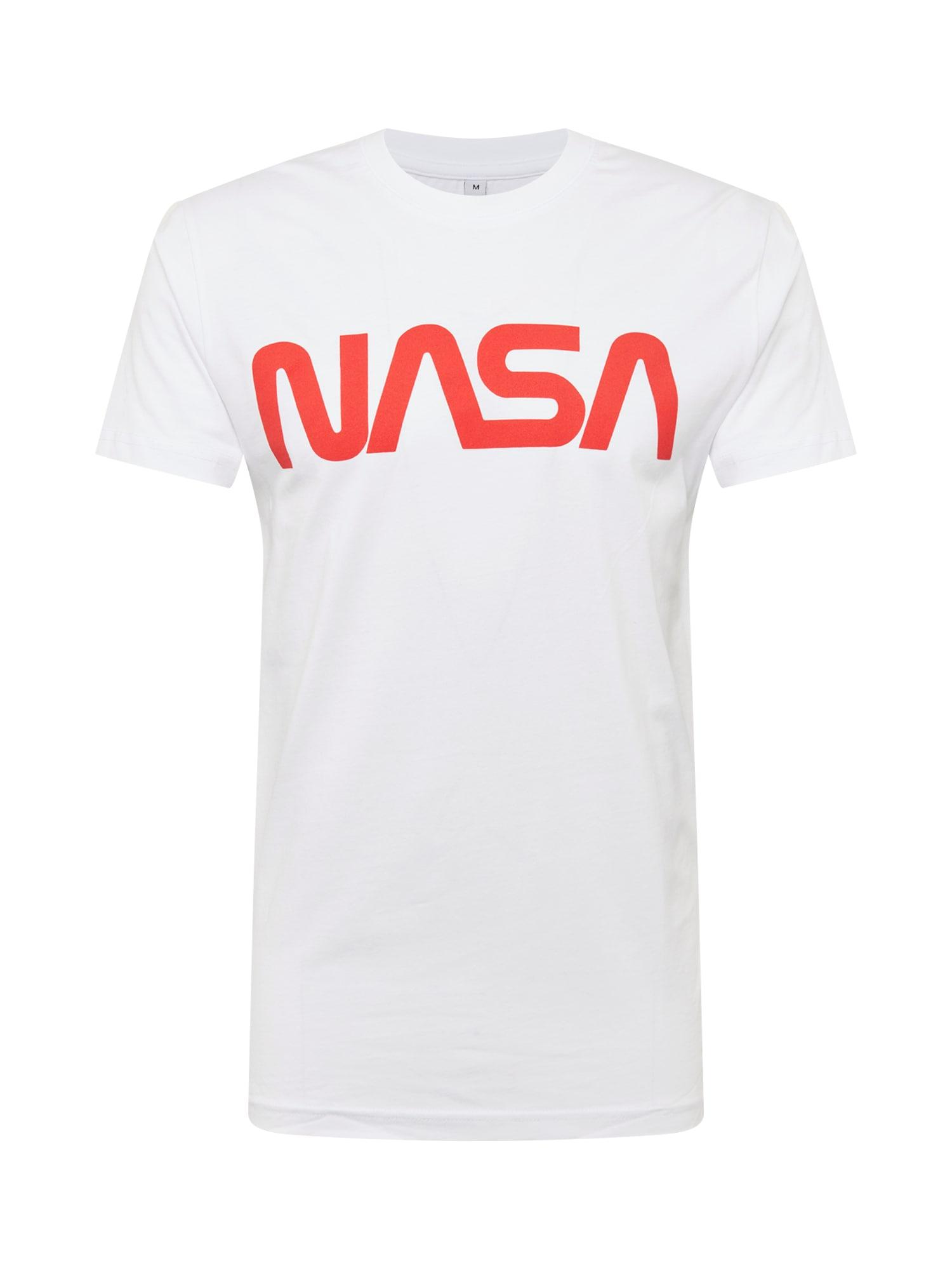 Mister Tee Tricou 'NASA Worm'  portocaliu deschis / alb