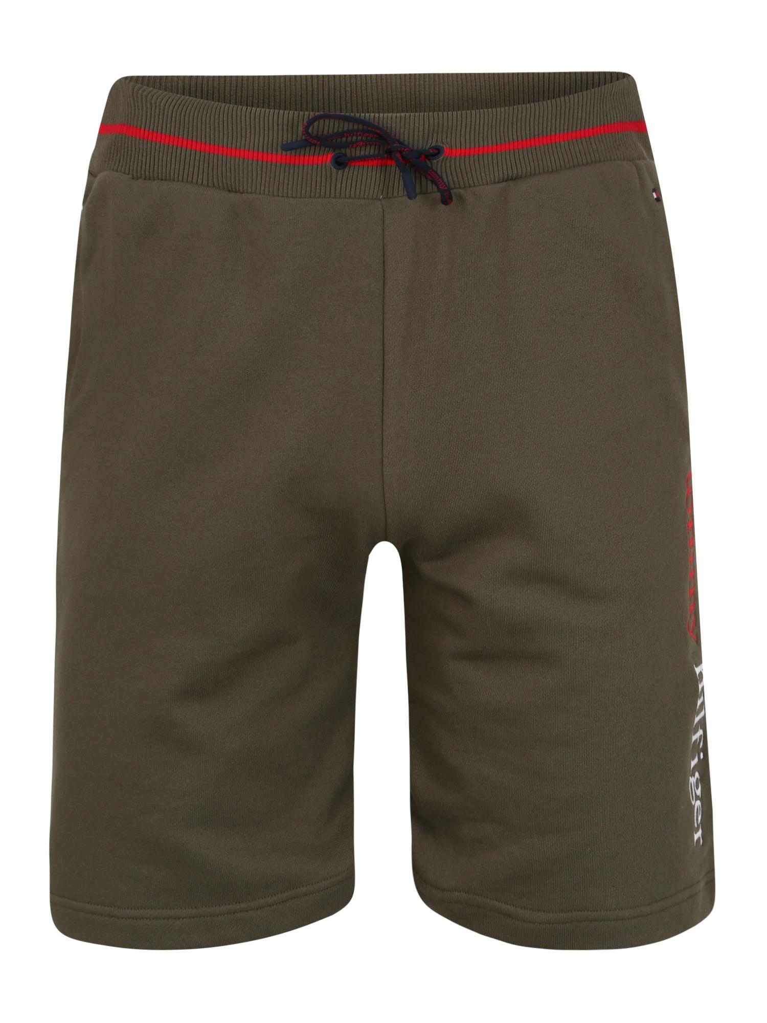 Tommy Hilfiger Underwear Kelnės 'LWK' tamsiai žalia / balta / raudona