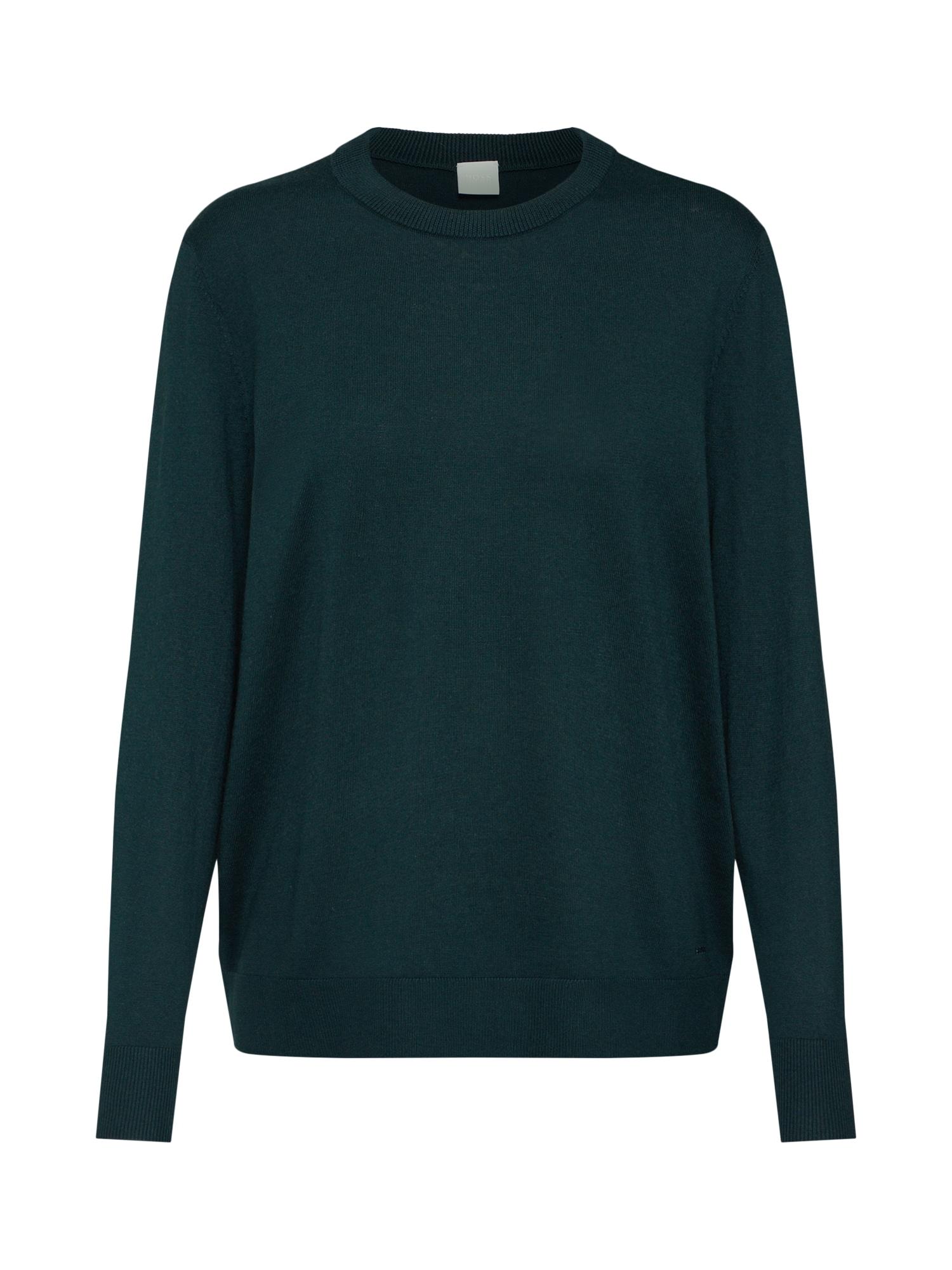 BOSS Megztinis 'Ibinna' tamsiai žalia