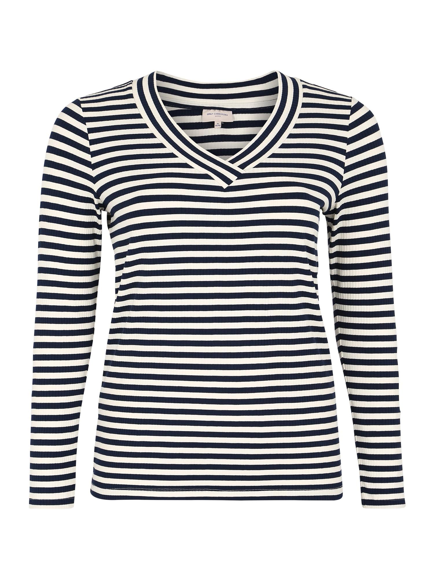 ONLY Carmakoma Marškinėliai 'CARVINNI' tamsiai mėlyna / balta