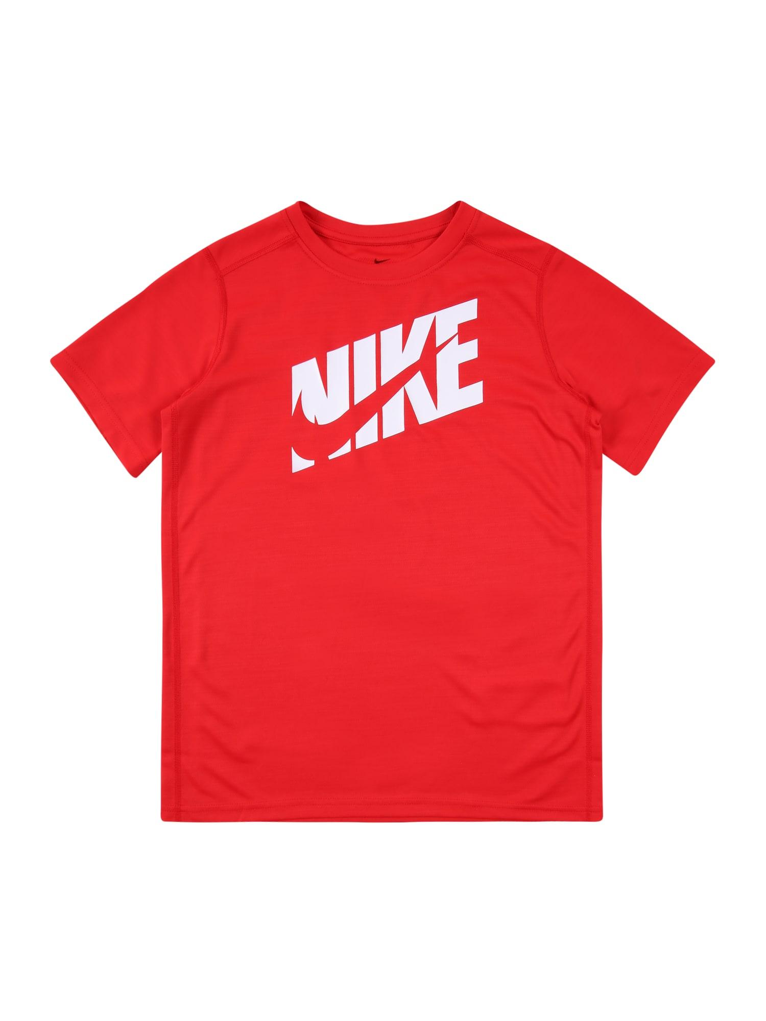 NIKE Sportiniai marškinėliai raudona / balta