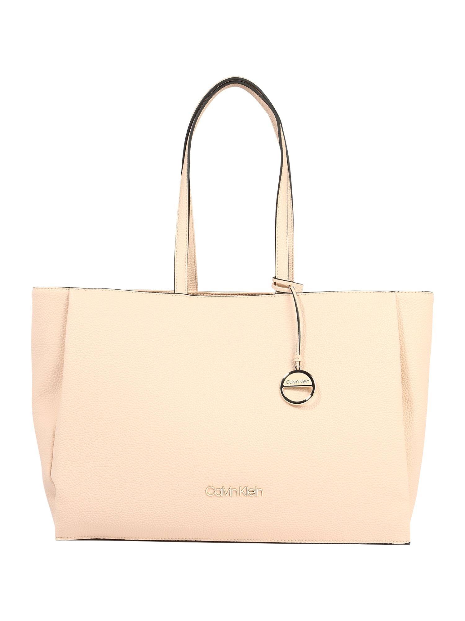 Calvin Klein Pirkinių krepšys 'SIDED SHOPPER W/ LAPTOP SLEEVE' gelsvai pilka spalva