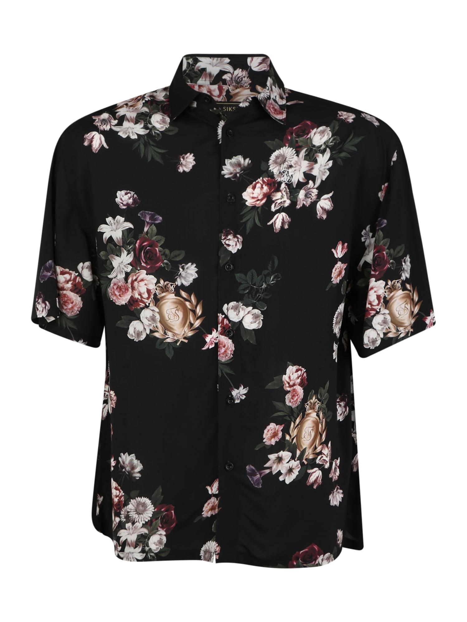 SikSilk Marškiniai pastelinė rožinė / juoda / žalia