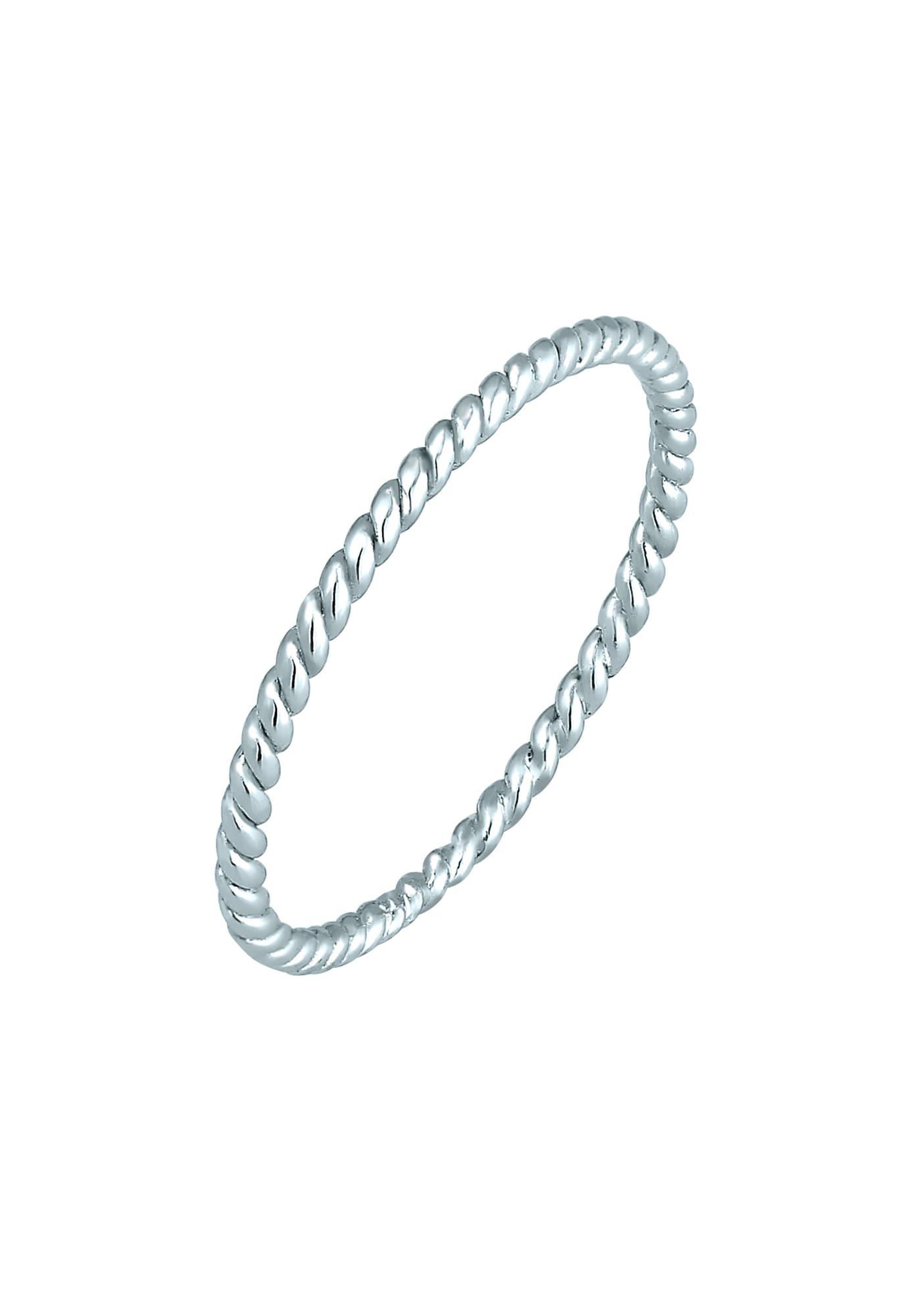 Damen ELLI PREMIUM Ring Geo, Twisted weiß | 04050878587444