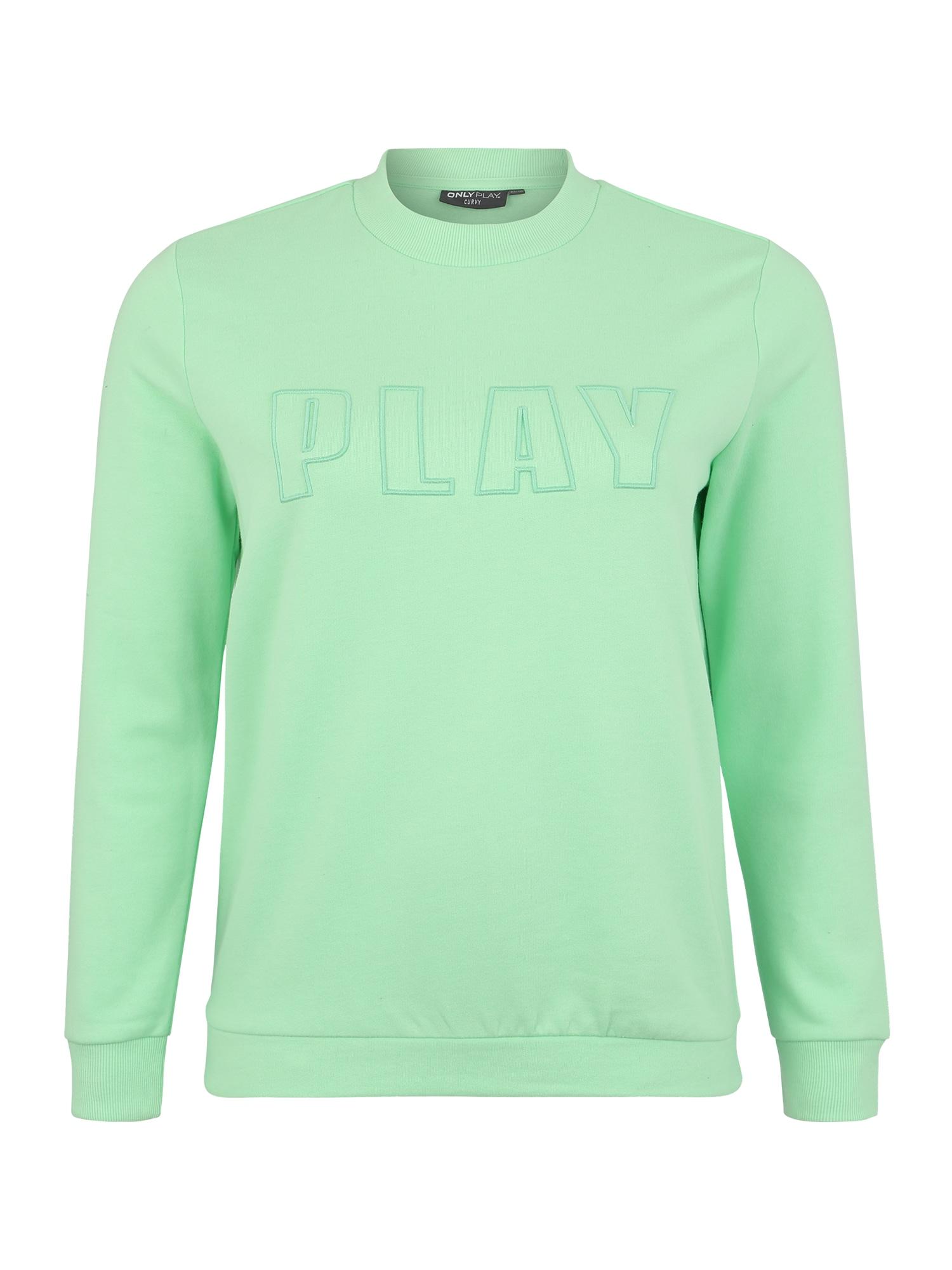 Only Play Curvy Sportinio tipo megztinis 'ONPDANI BRUSHED CN SWEAT SP' žalia