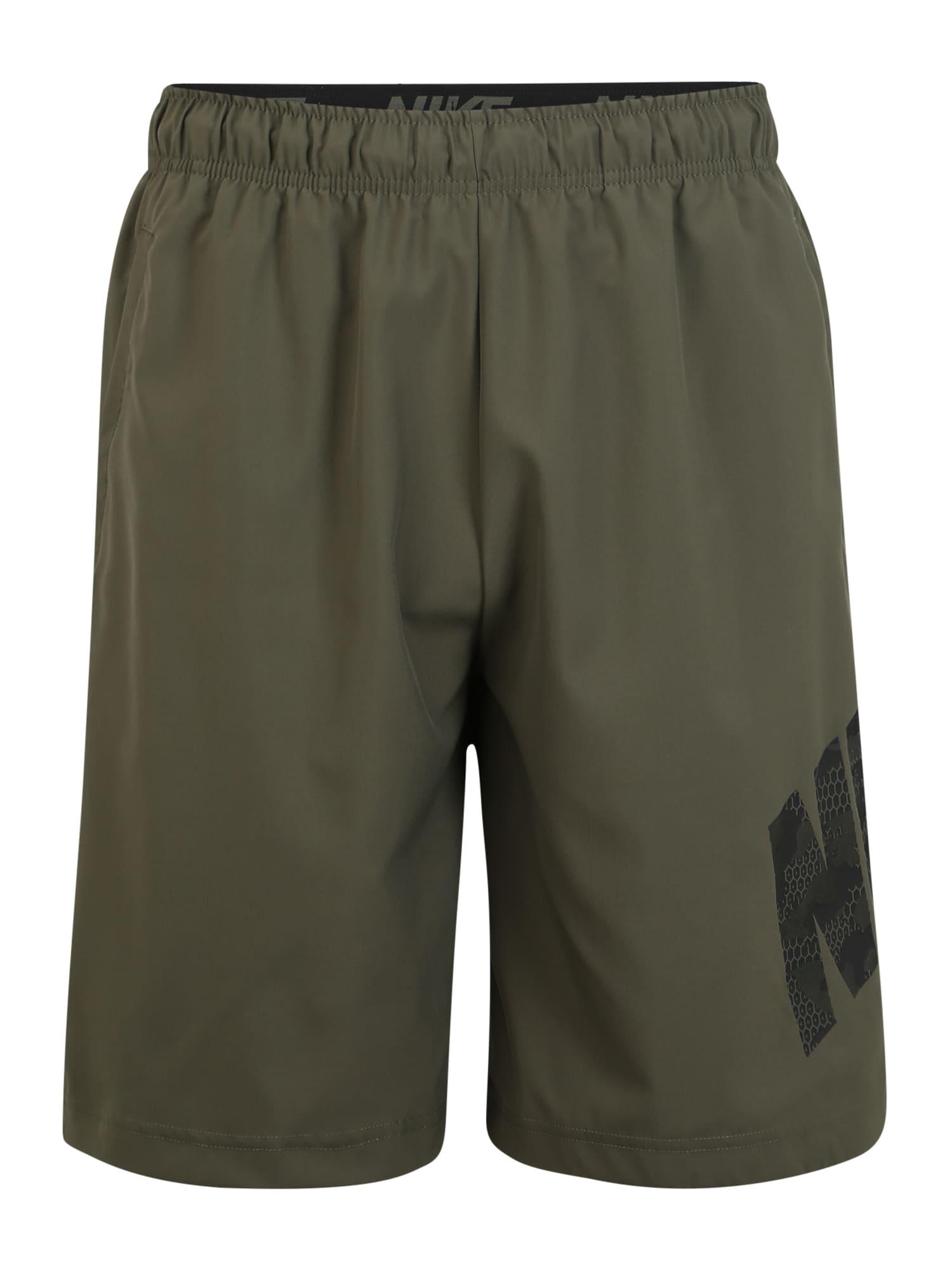 NIKE Sportinės kelnės 'Flex' alyvuogių spalva