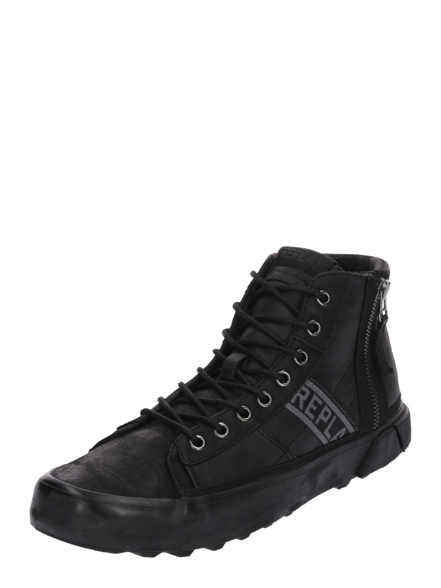 REPLAY Herren Sneaker mit Schnürung und Reißverschlüssen schwarz   08056741786316