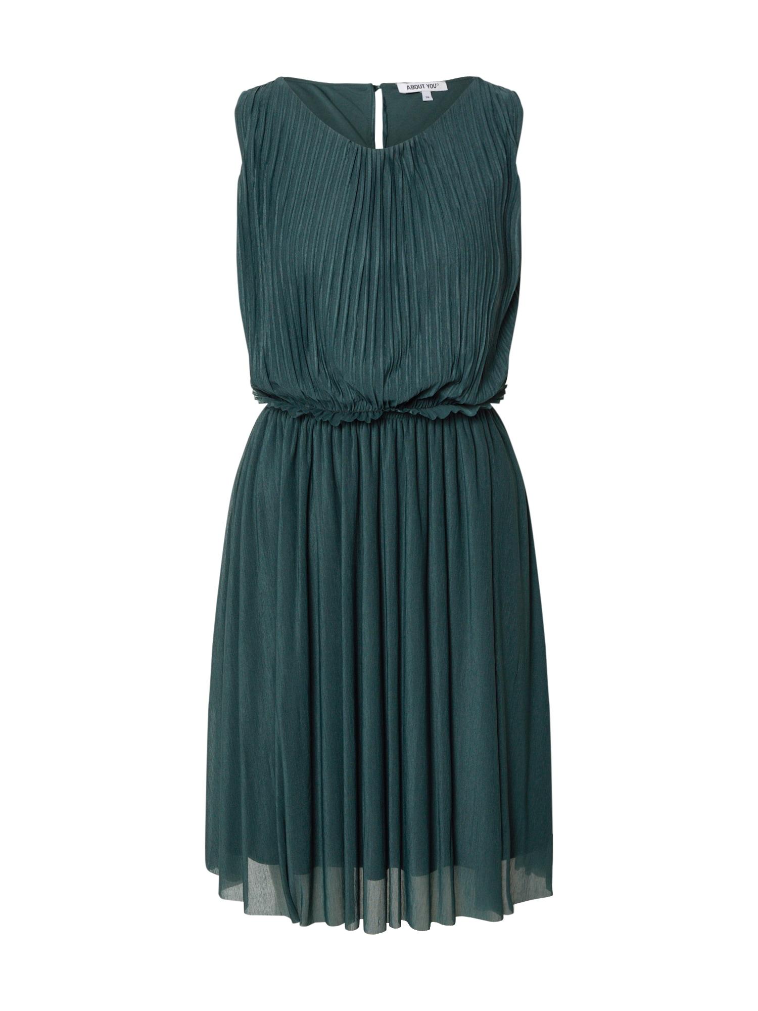 ABOUT YOU Kokteilinė suknelė 'Adlin' benzino spalva / žalia / tamsiai žalia