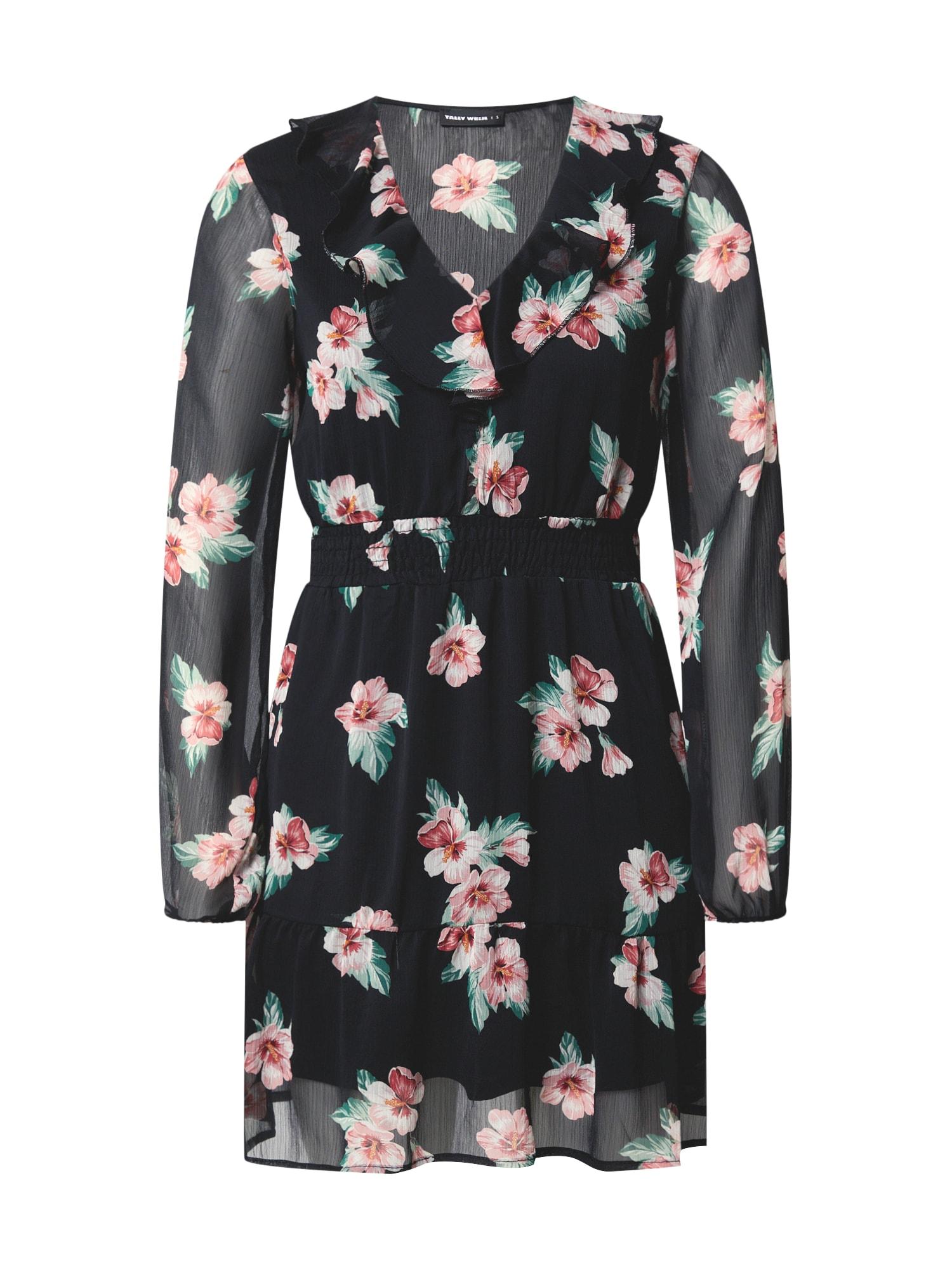 Tally Weijl Suknelė juoda / rožių spalva / žalia