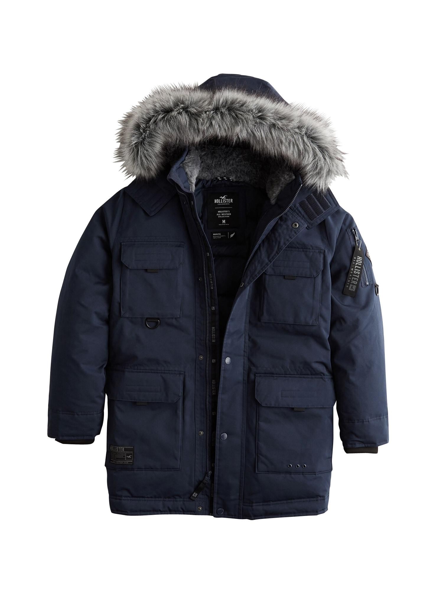 HOLLISTER Ilga žieminė striukė 'XM19-AW DOWN PARKA NAVY 1CC' tamsiai mėlyna