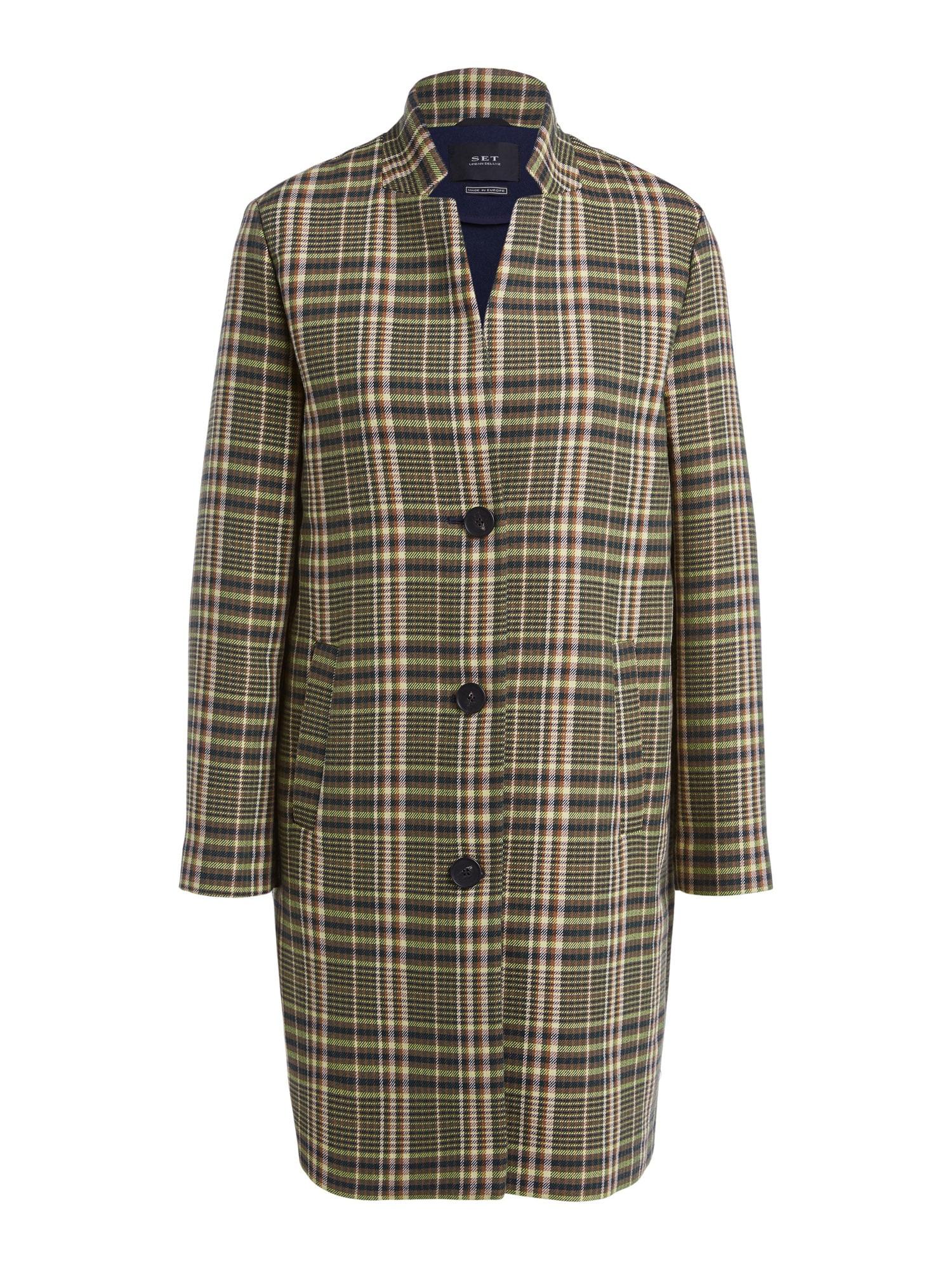 SET Demisezoninis paltas šviesiai žalia / juoda / balta / rusvai žalia