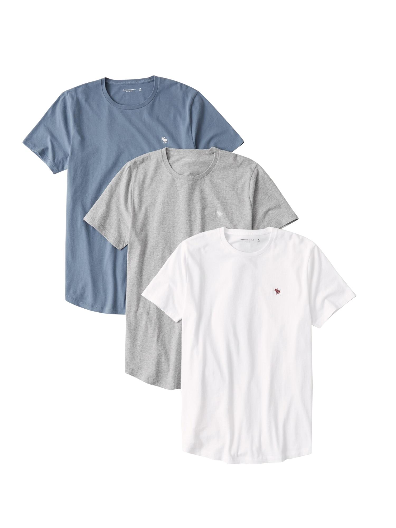 Abercrombie & Fitch Marškinėliai pilka / mėlyna / balta