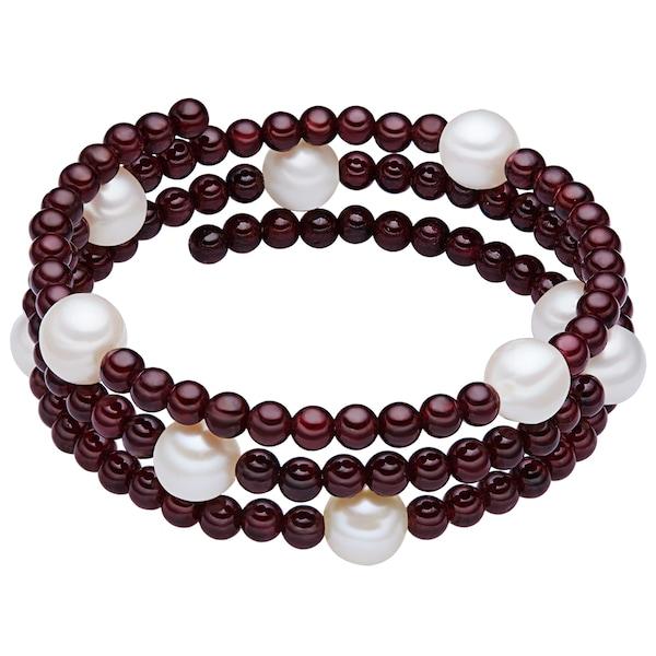 Armbaender für Frauen - Valero Pearls Granat Armband mit Süßwasser Zuchtperlen blutrot weiß  - Onlineshop ABOUT YOU