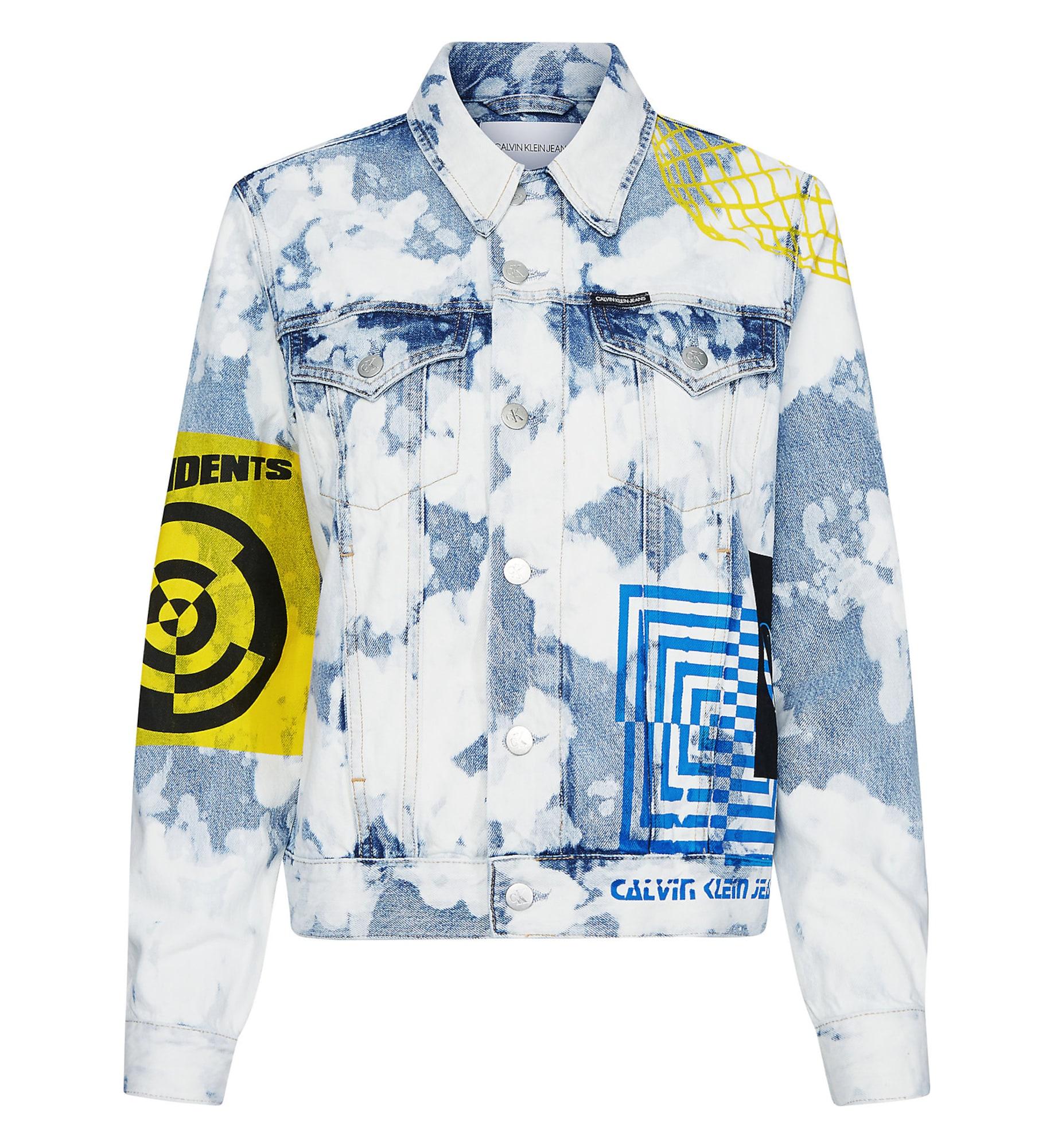 Calvin Klein Jeans Demisezoninė striukė tamsiai (džinso) mėlyna / balta / geltona