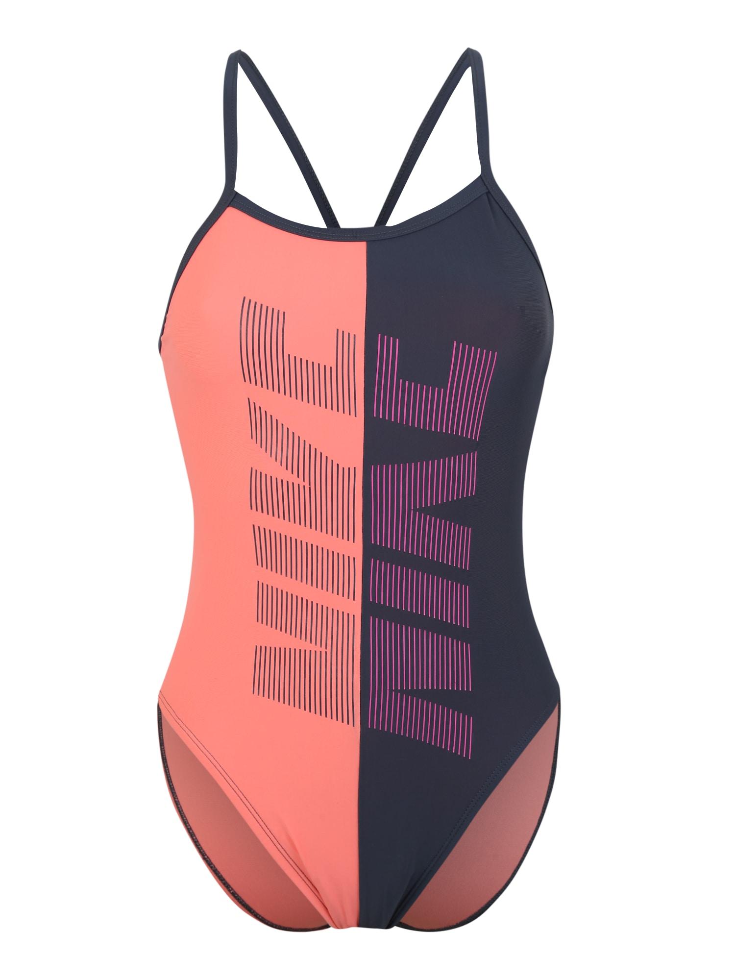 Nike Swim Sportinis maudymosi kostiumėlis 'Nike Rift' mėlyna dūmų spalva / rožių spalva