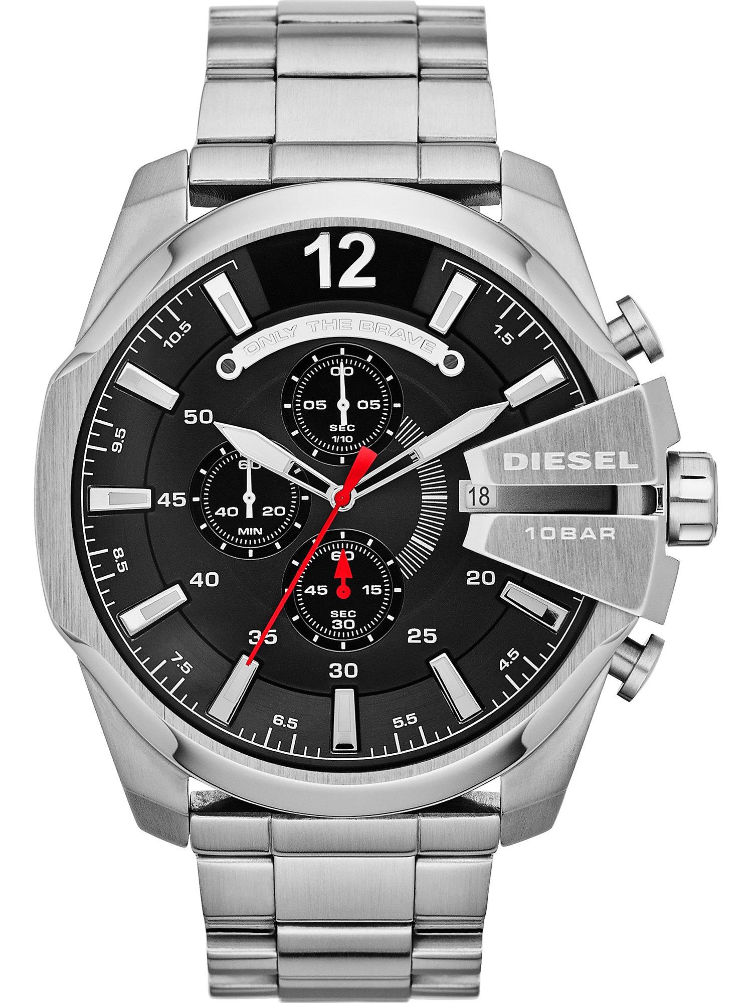 DIESEL Analoginis (įprasto dizaino) laikrodis 'MEGA CHIEF, DZ4308' juoda / sidabrinė