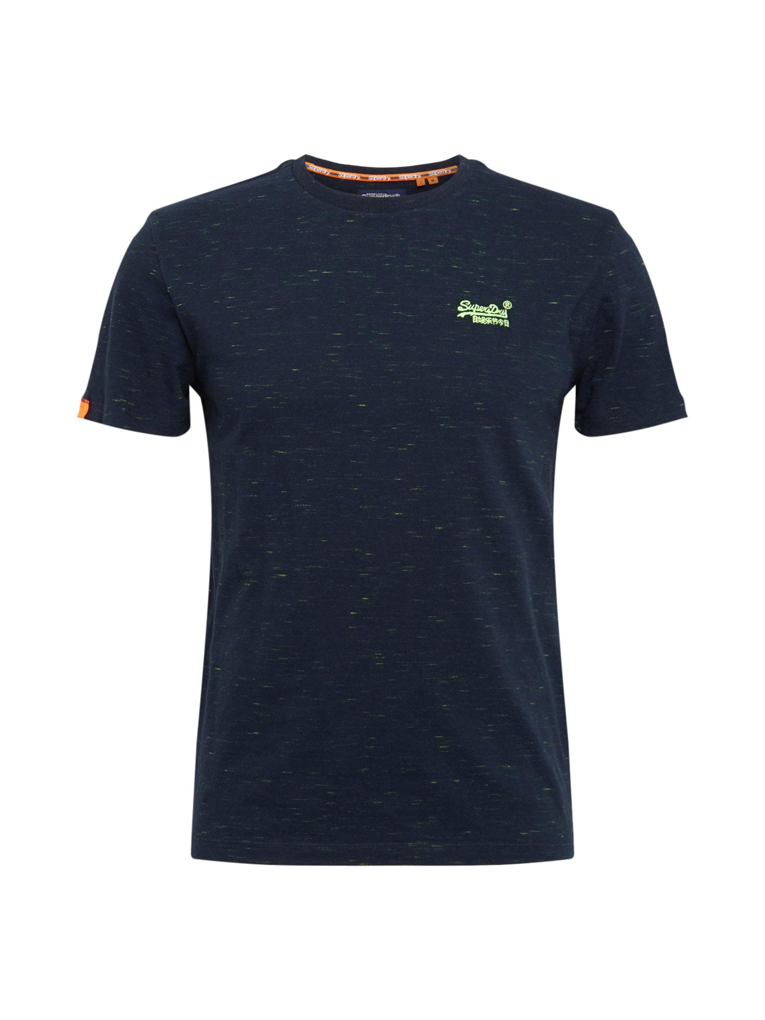Superdry Marškinėliai tamsiai mėlyna / oranžinė / neoninė žalia