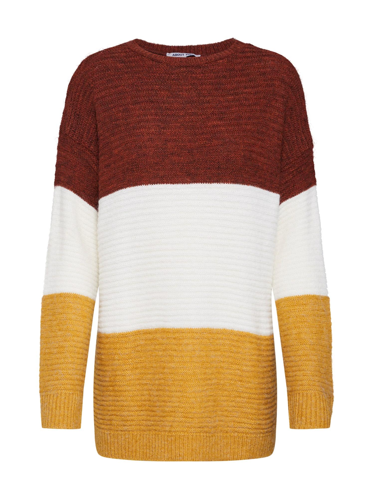 ABOUT YOU Megztinis 'Larissa' kremo / ruda / garstyčių spalva