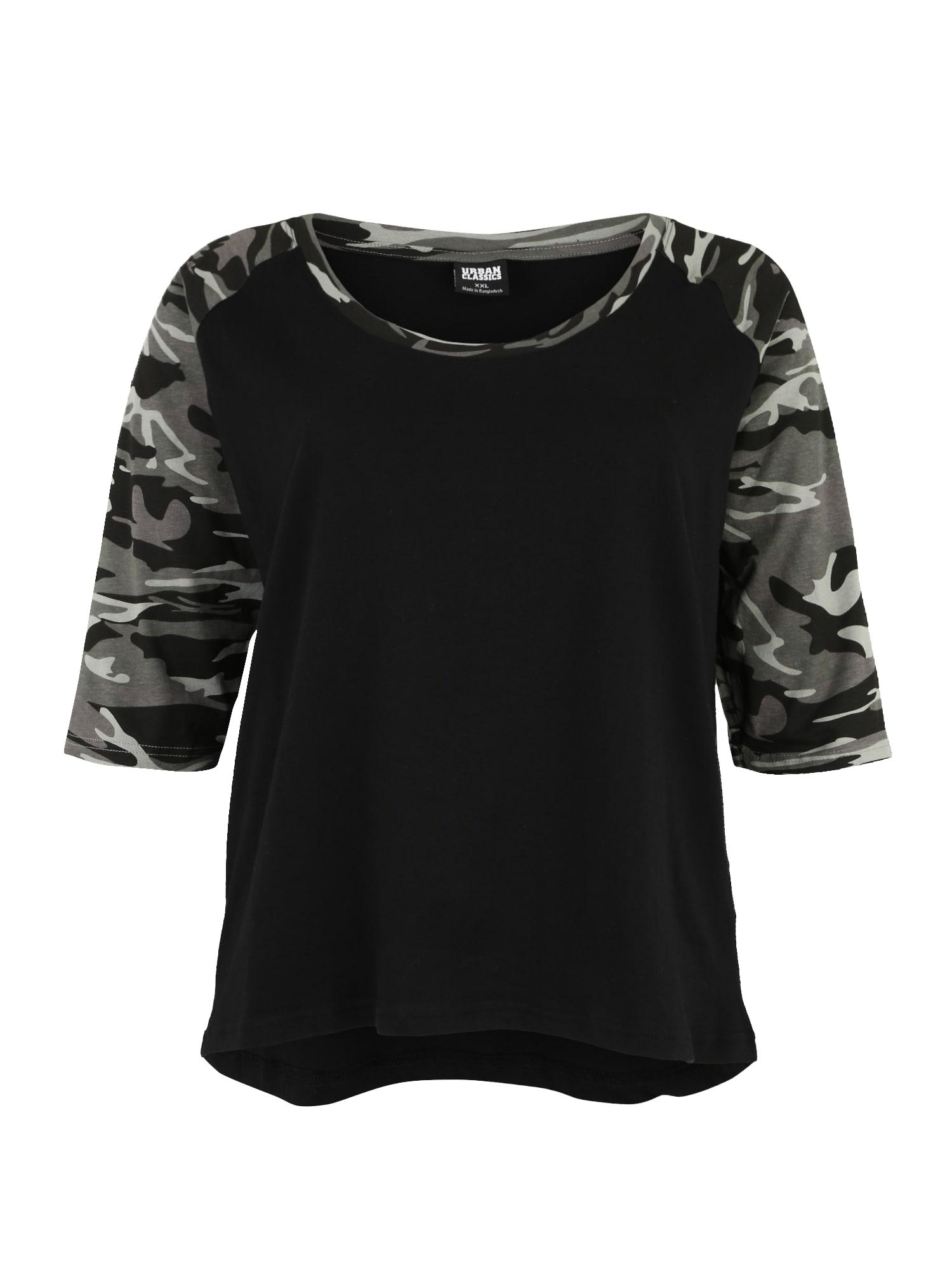 Urban Classics Curvy Marškinėliai 'Contrast Raglan Tee' pilka / juoda