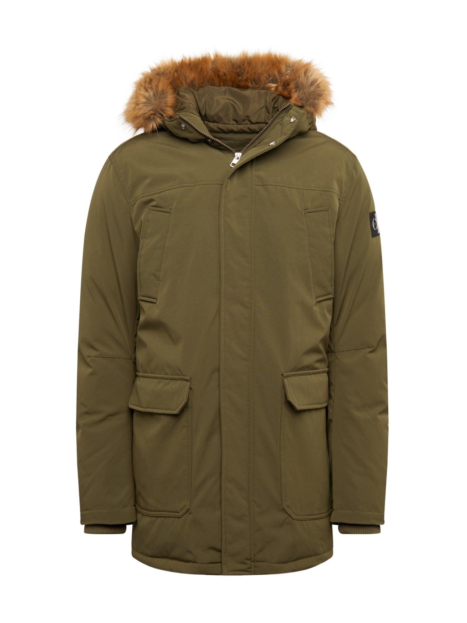 Calvin Klein Jeans Ilga žieminė striukė 'FUR TRIMMED HOODED PADDED PARKA' rusvai žalia