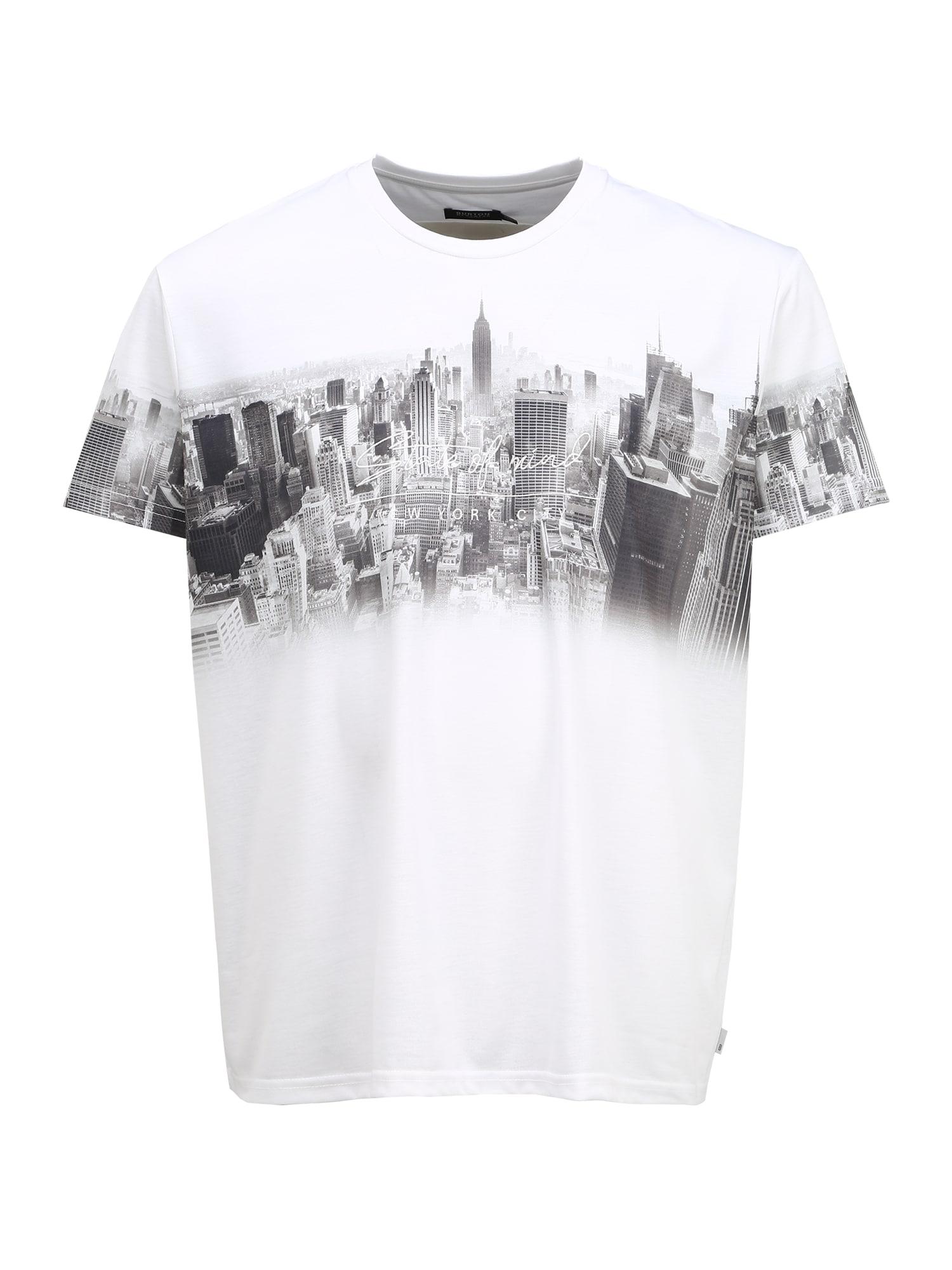 BURTON MENSWEAR LONDON (Big & Tall) Tričko 'Big and Tall White New York'  biela / čierna