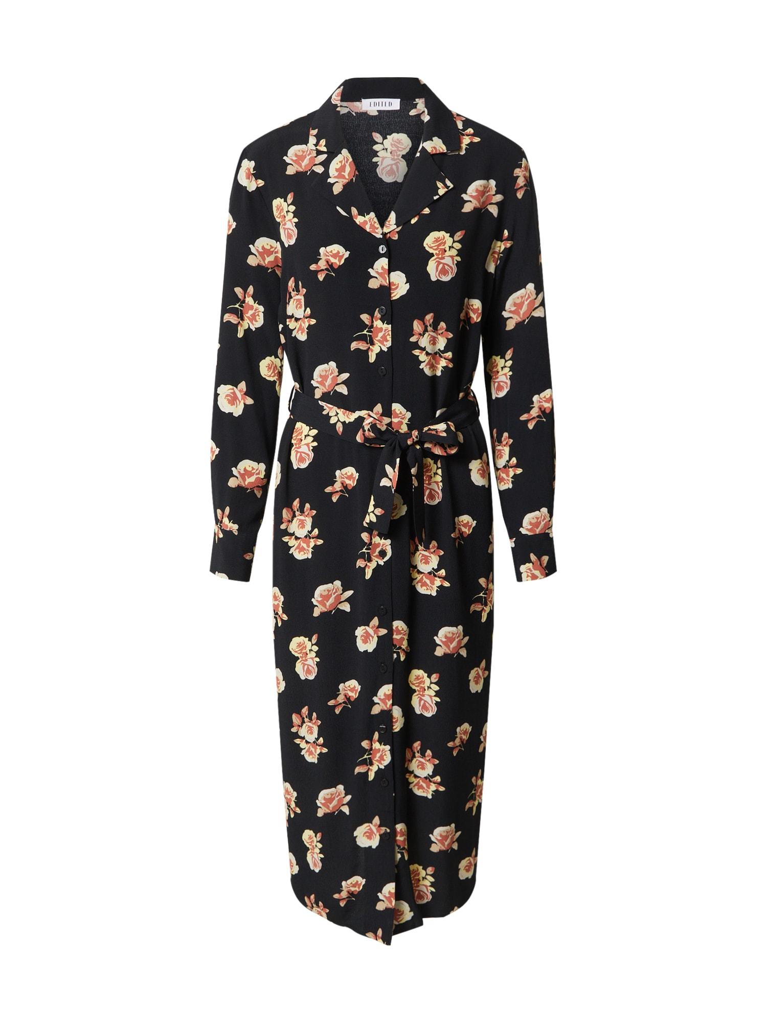EDITED Palaidinės tipo suknelė 'Christin' juoda / šviesiai oranžinė