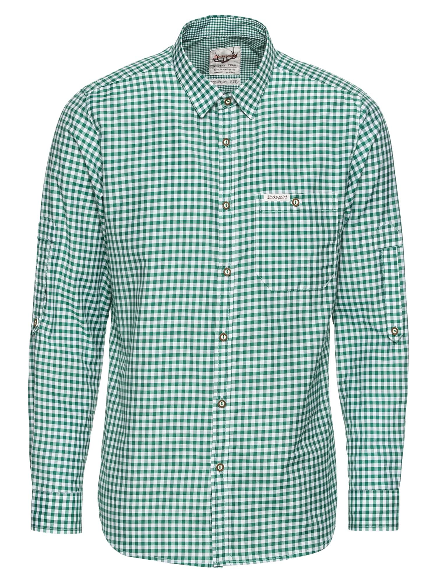 STOCKERPOINT Neliemenuoti marškiniai 'Campos3' tamsiai žalia / balta