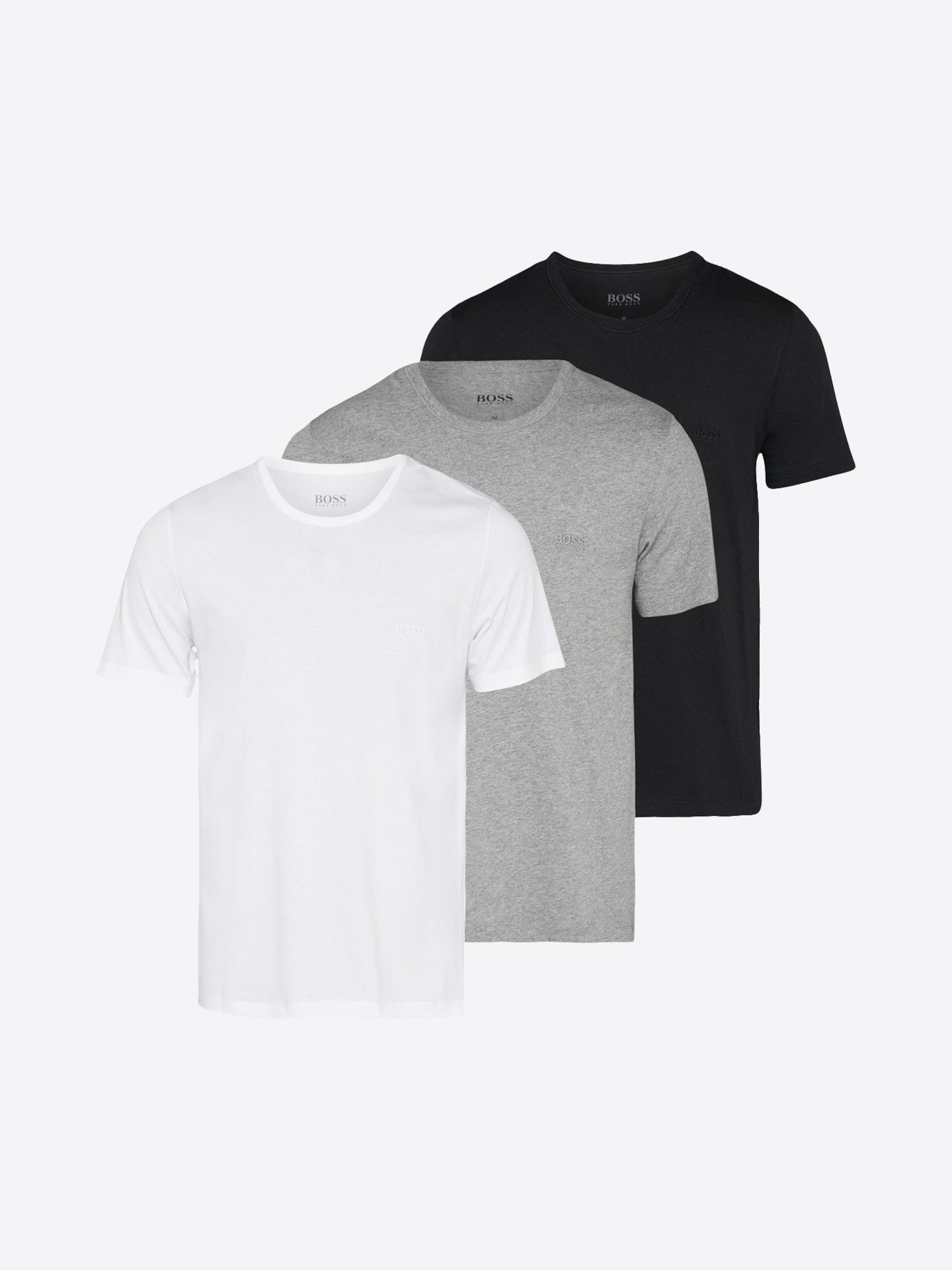 BOSS, Heren Onderhemd RN 3P CO, grijs / zwart / offwhite