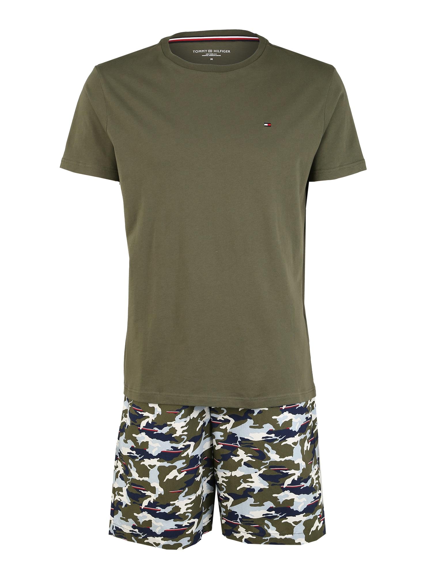 Tommy Hilfiger Underwear Trumpa pižama 'CN SS SHORT WOVEN SET PRINT' tamsiai žalia