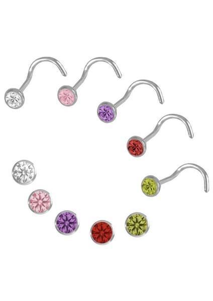 Schmucksets für Frauen - FIRETTI Schmuckset 5 verschiedenfarbige Nasenstecker gelb lila rosa rot silber weiß  - Onlineshop ABOUT YOU