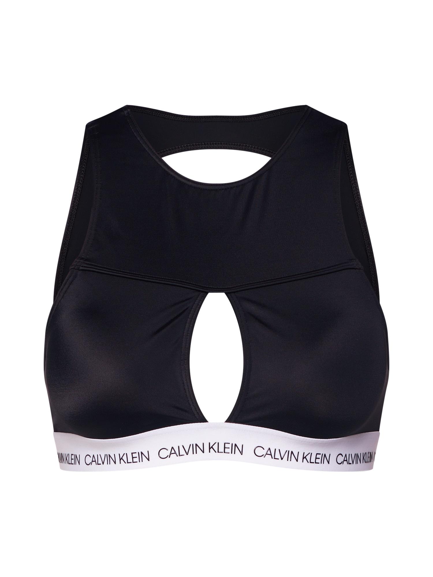 Horní díl plavek OPEN SQUARE CROP TOP černá bílá Calvin Klein Swimwear