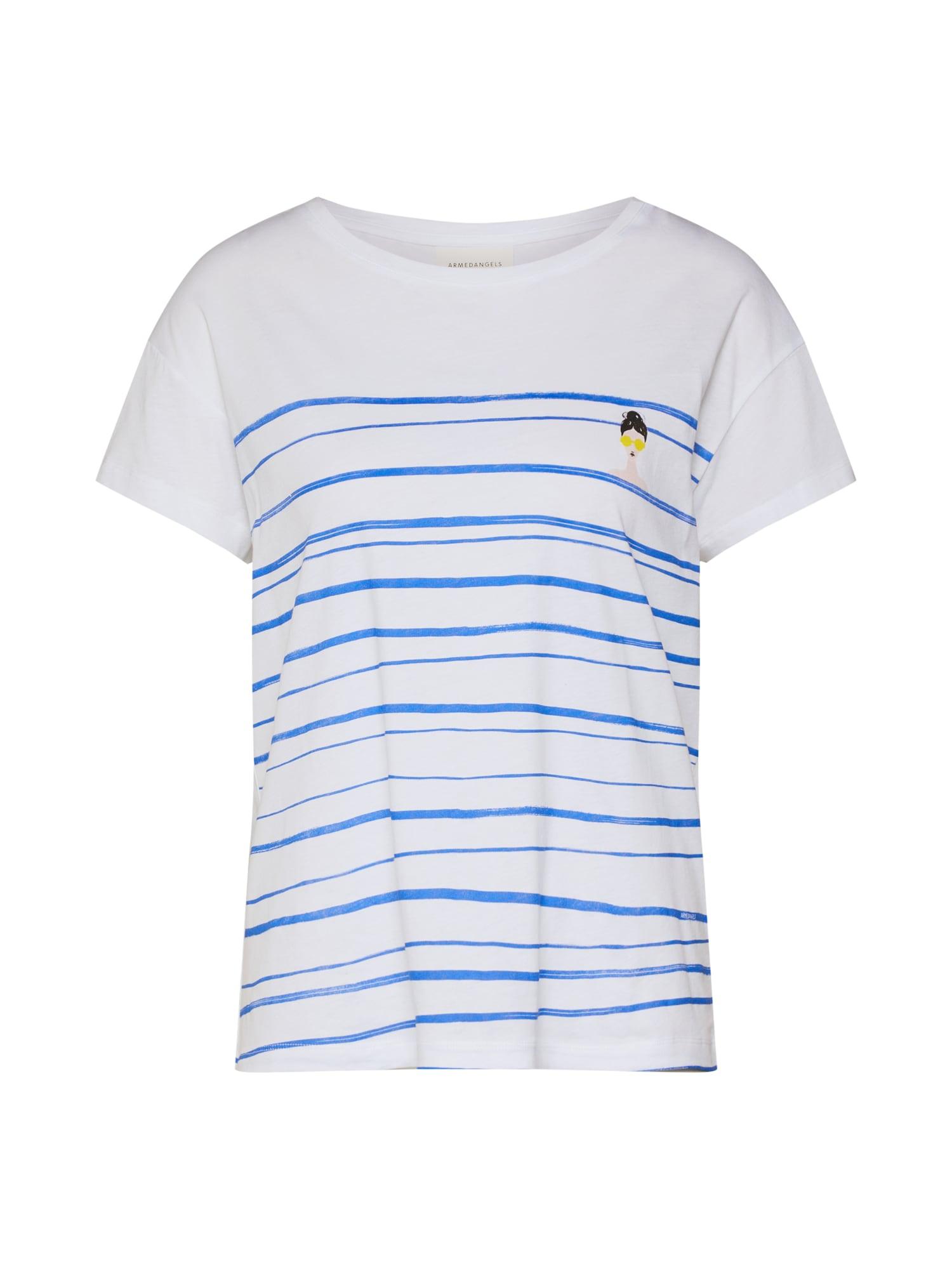 Tričko NELAA WOMAN AT THE SEA modrá bílá ARMEDANGELS
